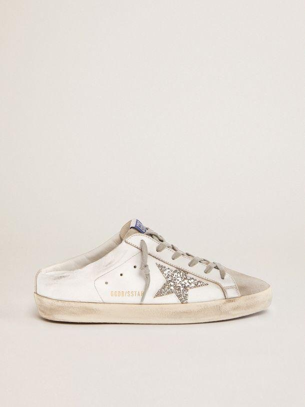 Super-Star Sabots in white leather and gray suede with silver glitter star