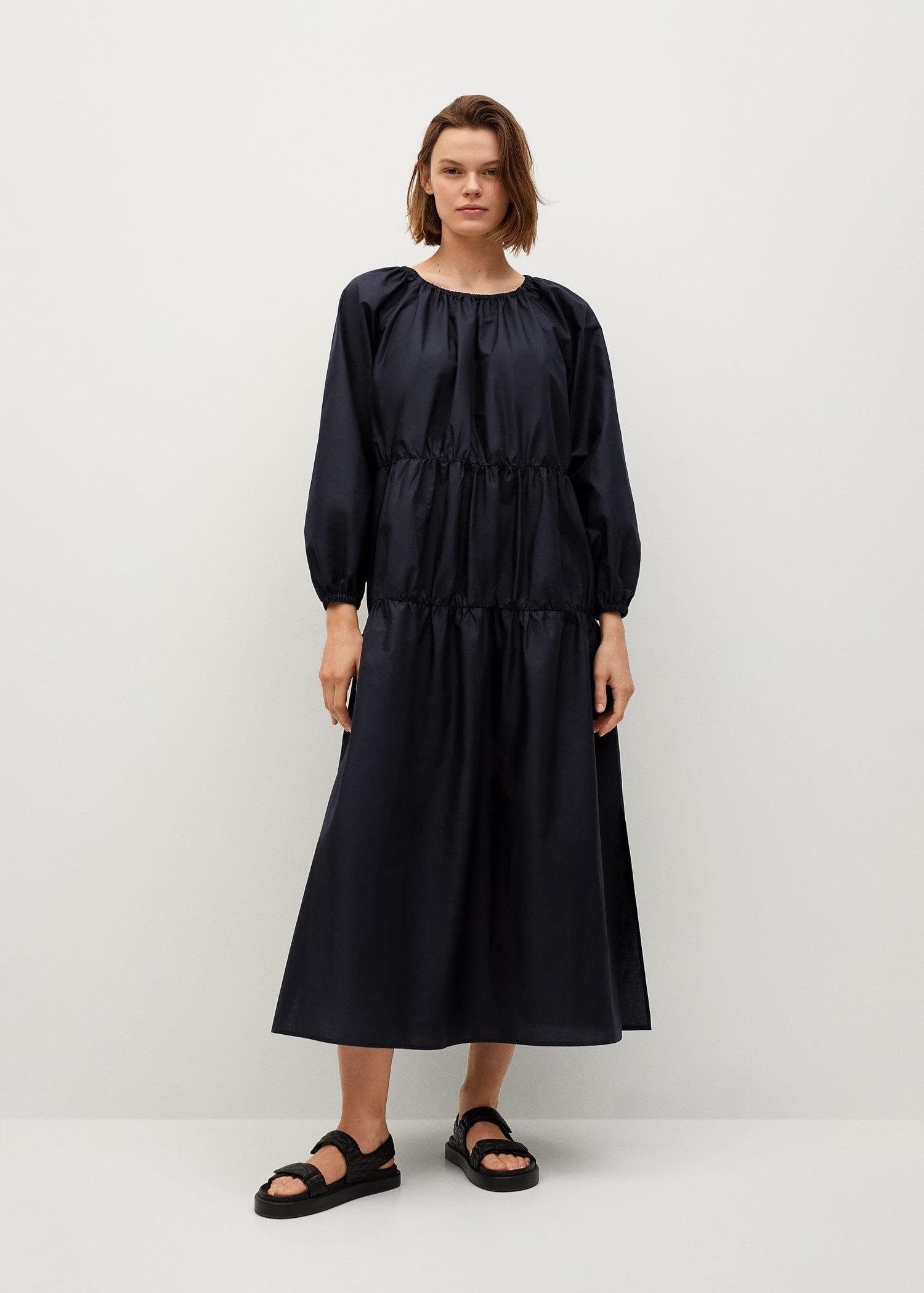 Puffed sleeves cotton dress 1
