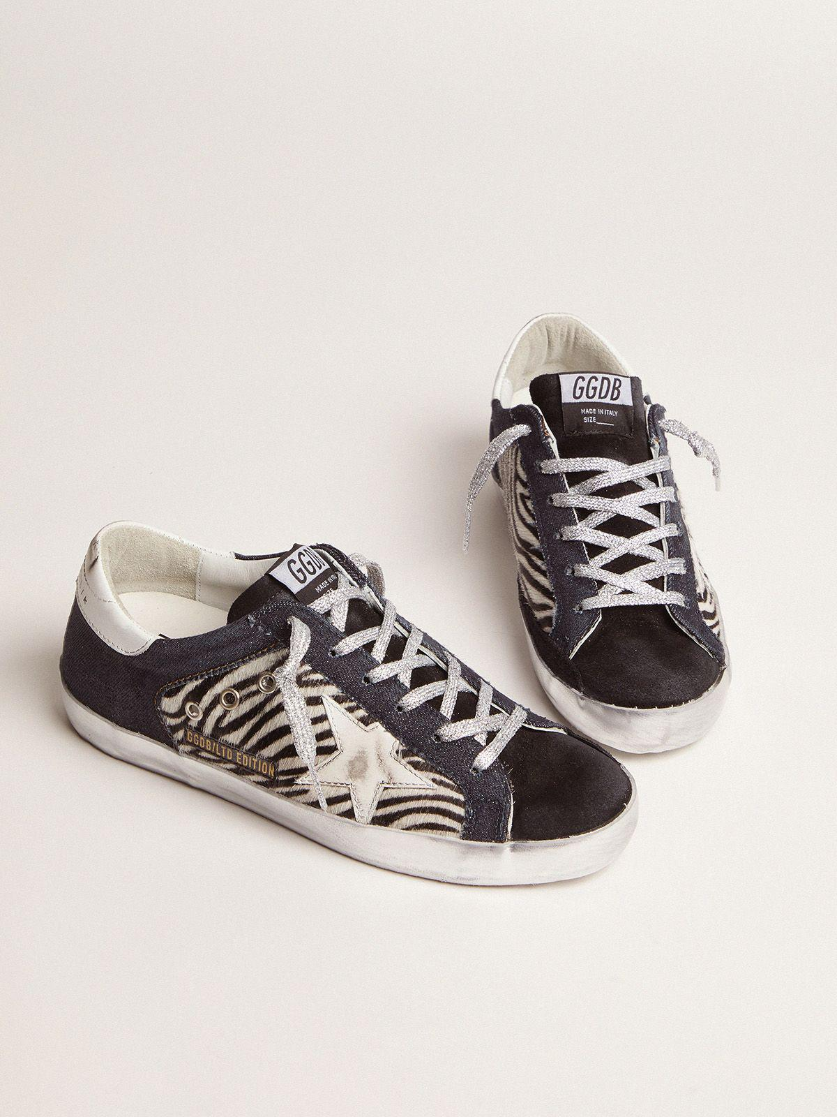 LAB Limited Edition Super-Star sneakers in denim, zebra-print pony skin and suede 1