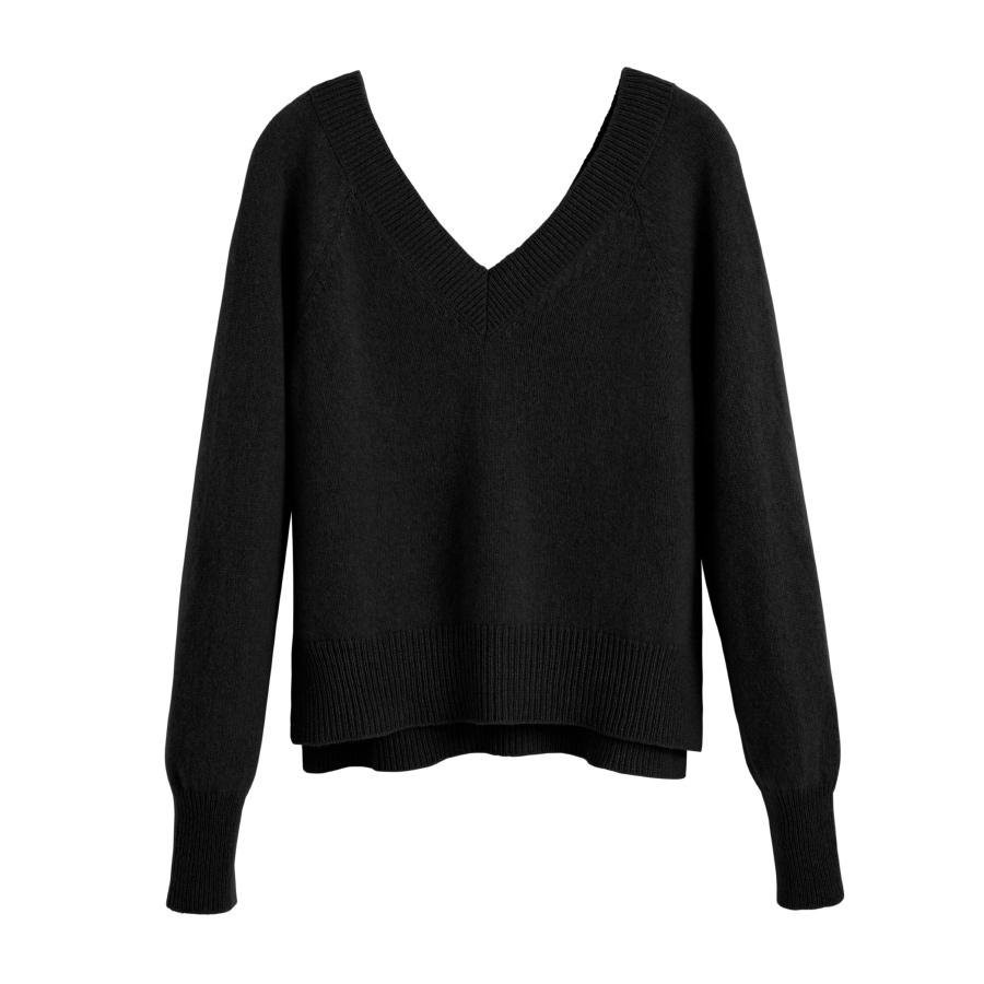 Women's Recycled Deep V-Neck Sweater in Black | Size: