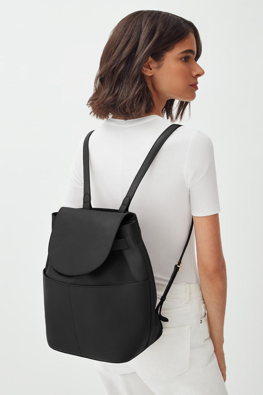 Women's Leather Backpack in Black | Pebbled Leather by Cuyana 6