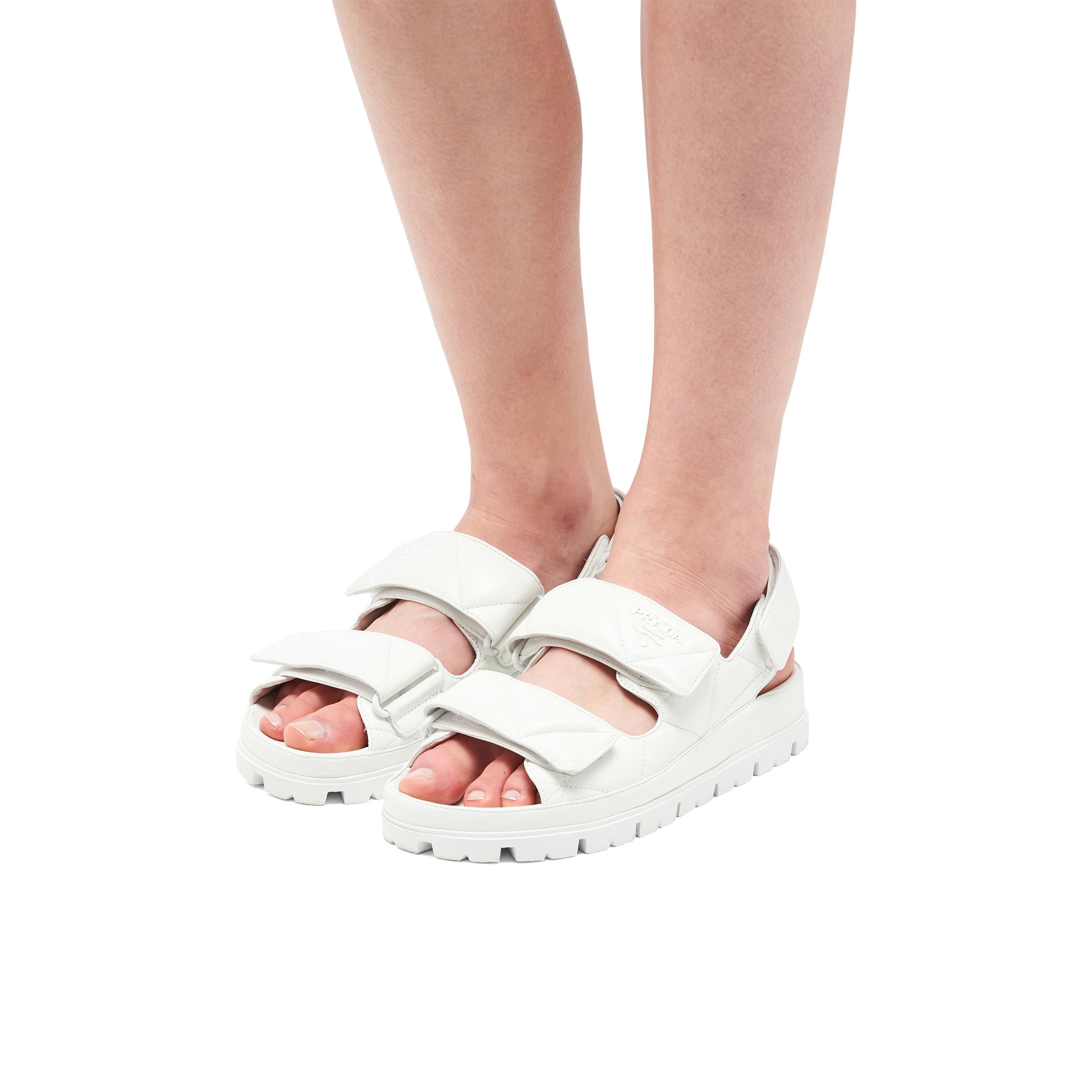 Padded Nappa Leather Sandals Women White 4