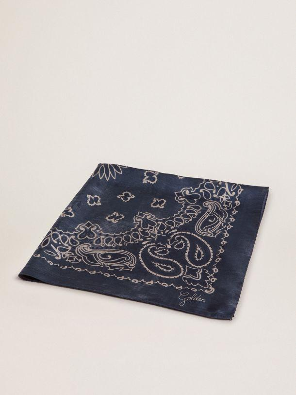 Denim-blue Golden Collection scarf with paisley pattern
