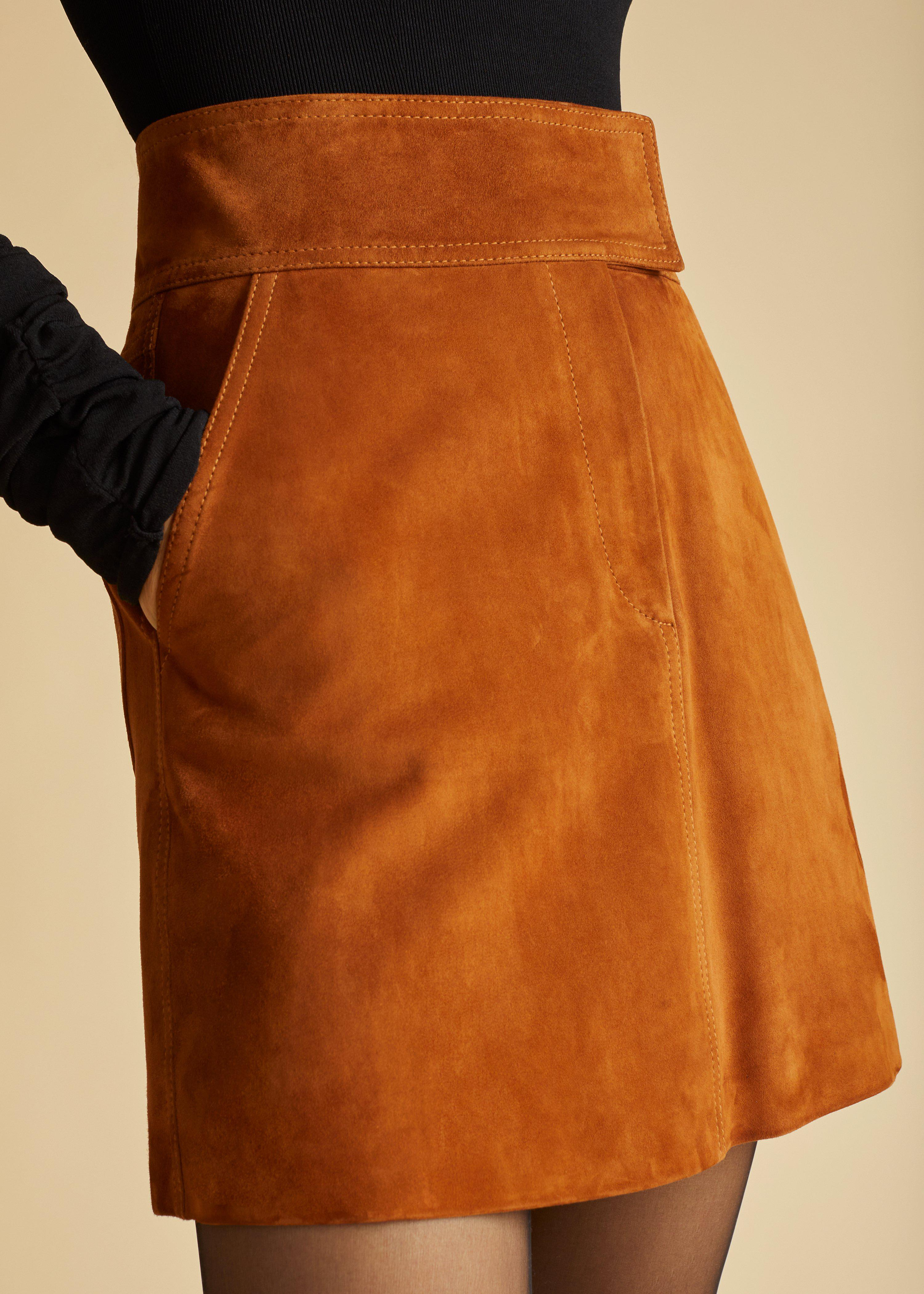 The Giulia Skirt in Chestnut Suede 3