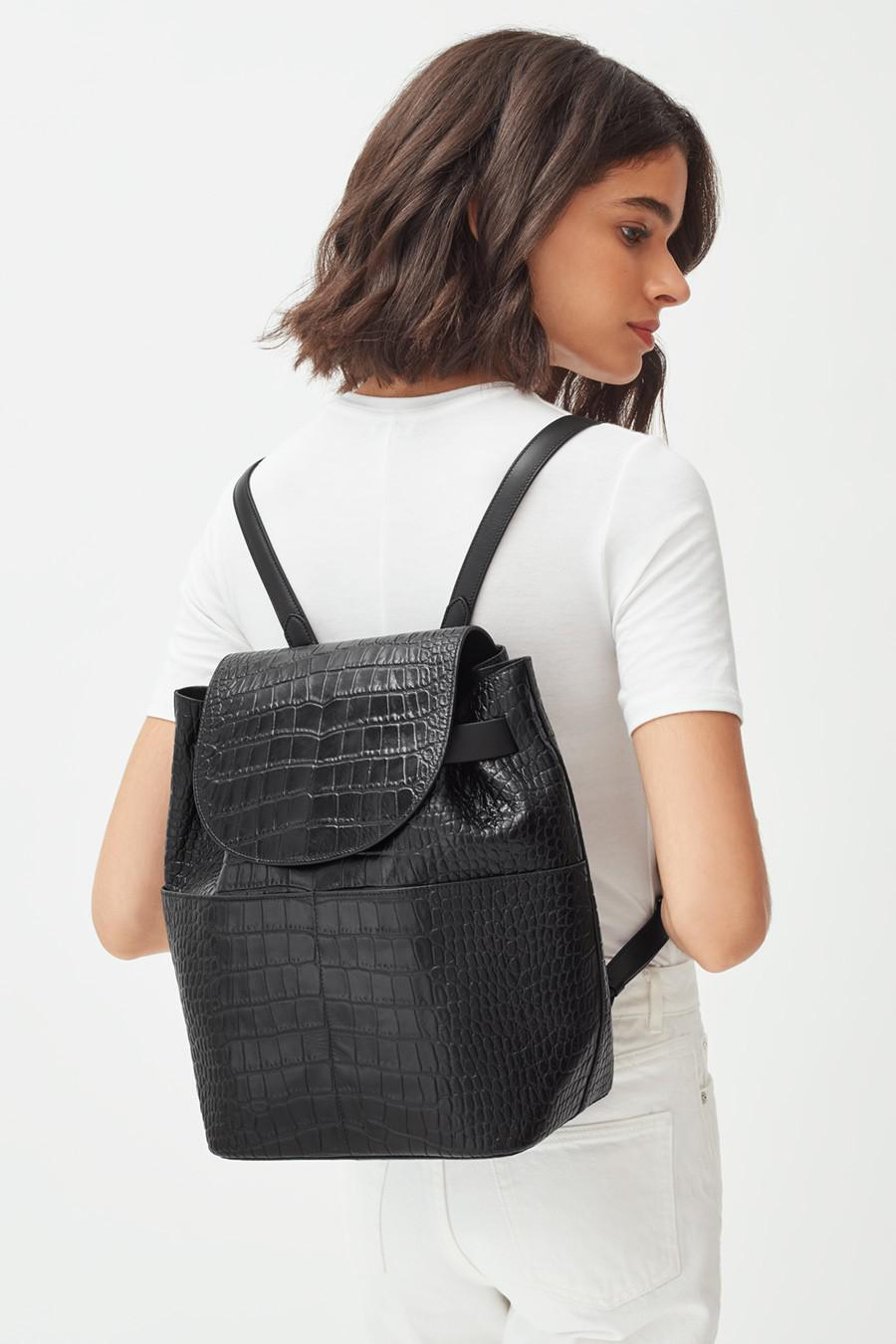 Women's Leather Backpack in Textured Black | Croc-Embossed by Cuyana 5
