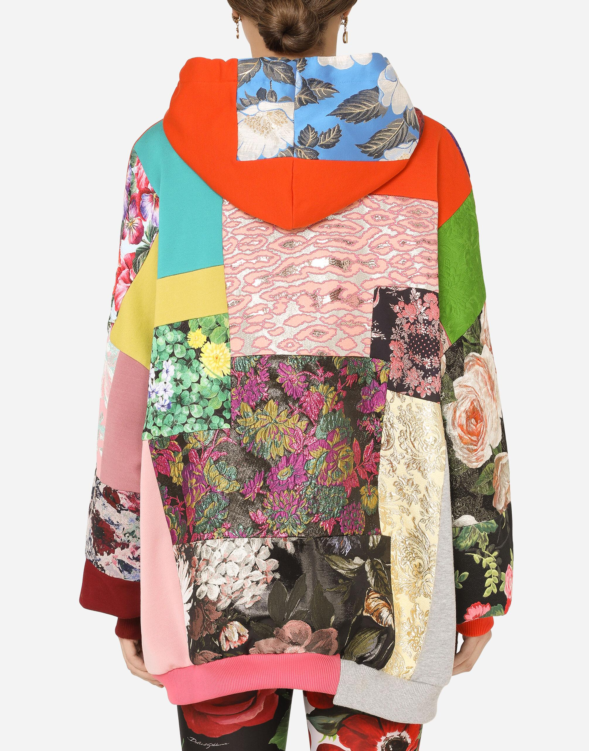 Patchwork jersey hoodie with DG embroidery 1