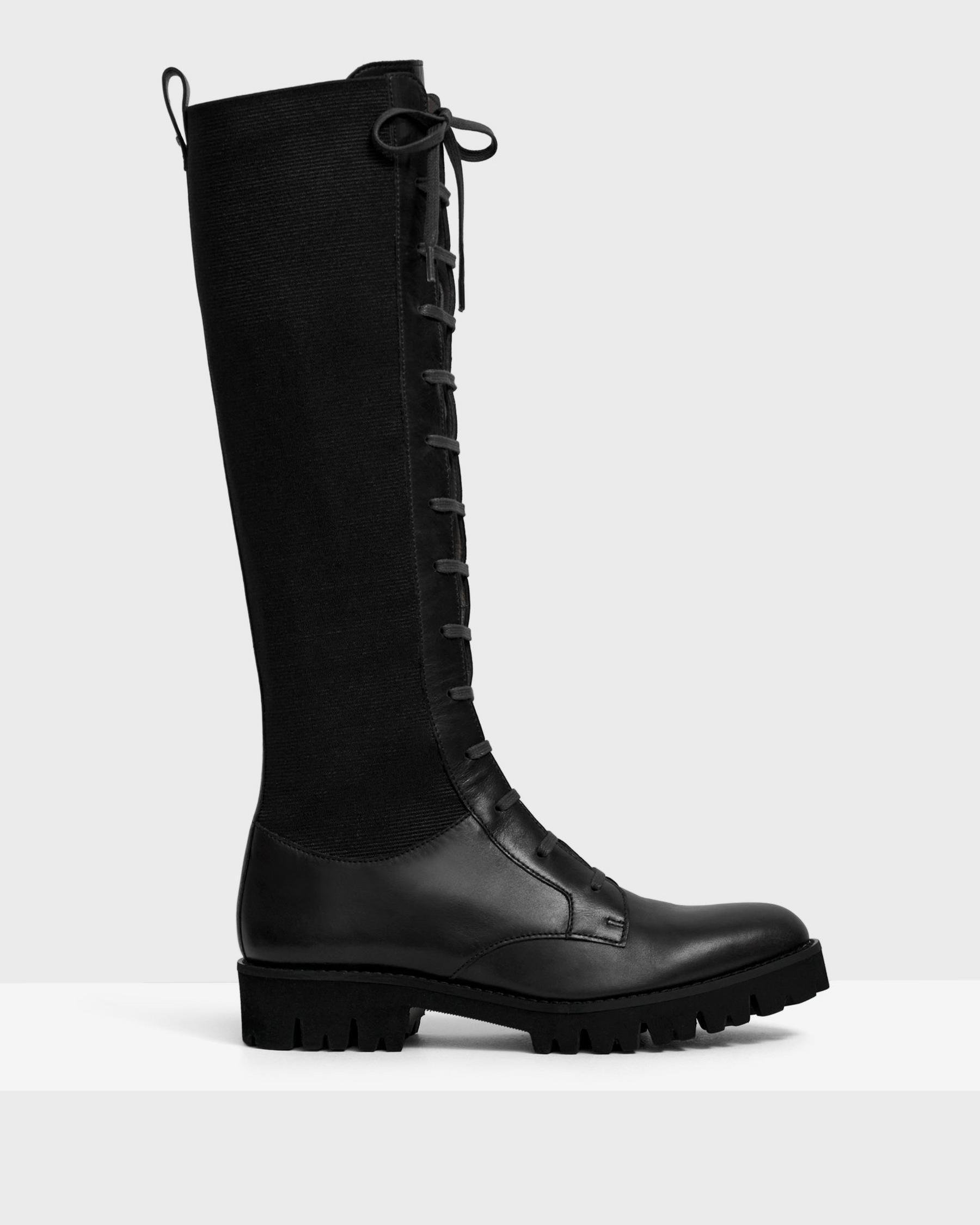 Laced Lug Boot in Leather 1