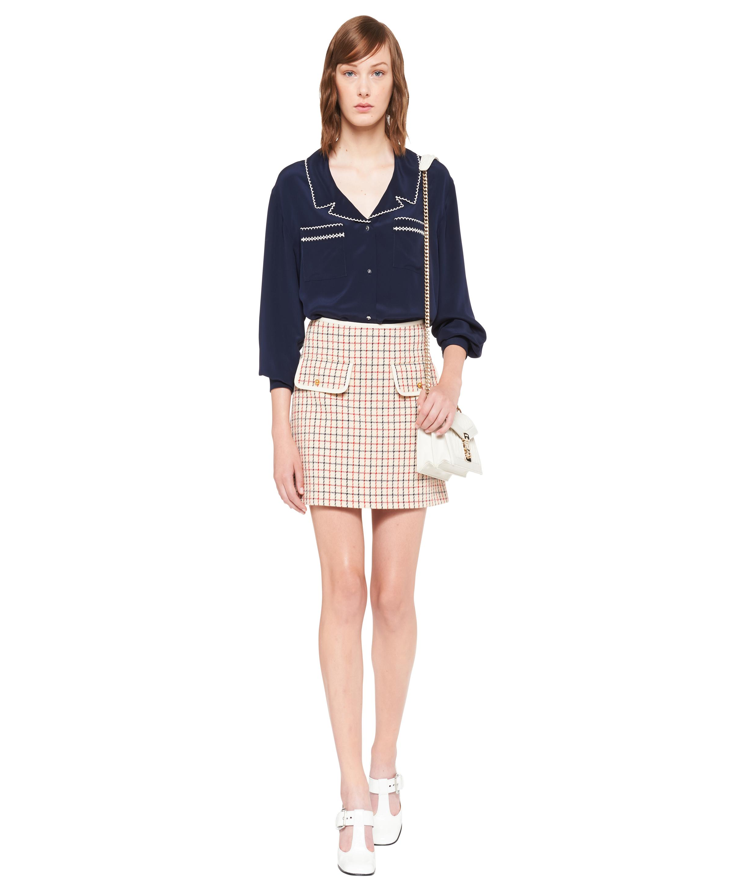 Embroidered Crepe De Chine Blouse Women Navy 1