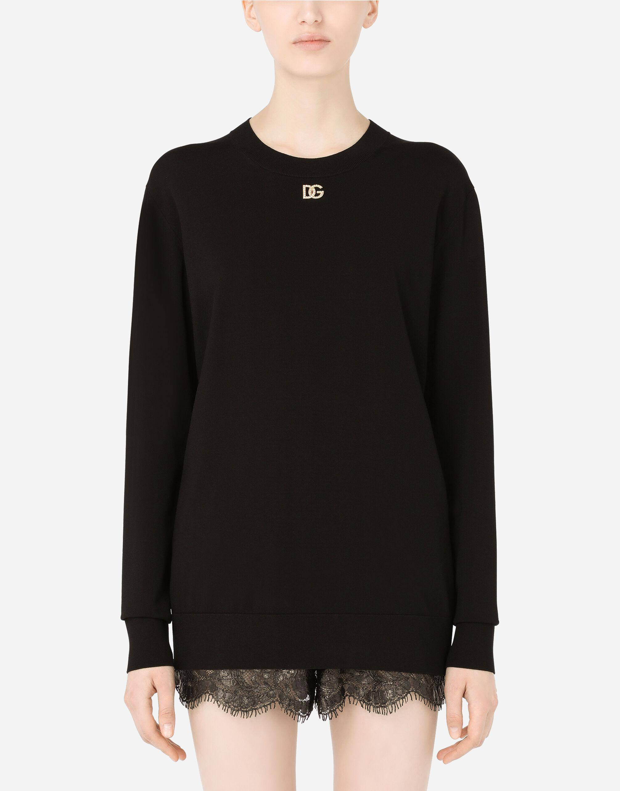 Viscose sweater with crystal DG embellishment