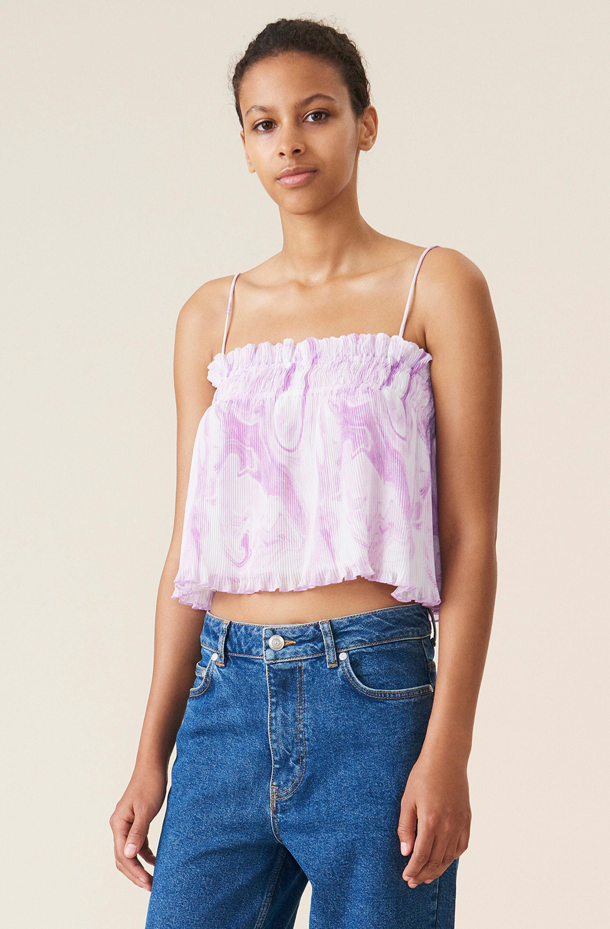 Pleated Georgette Strap Top 0