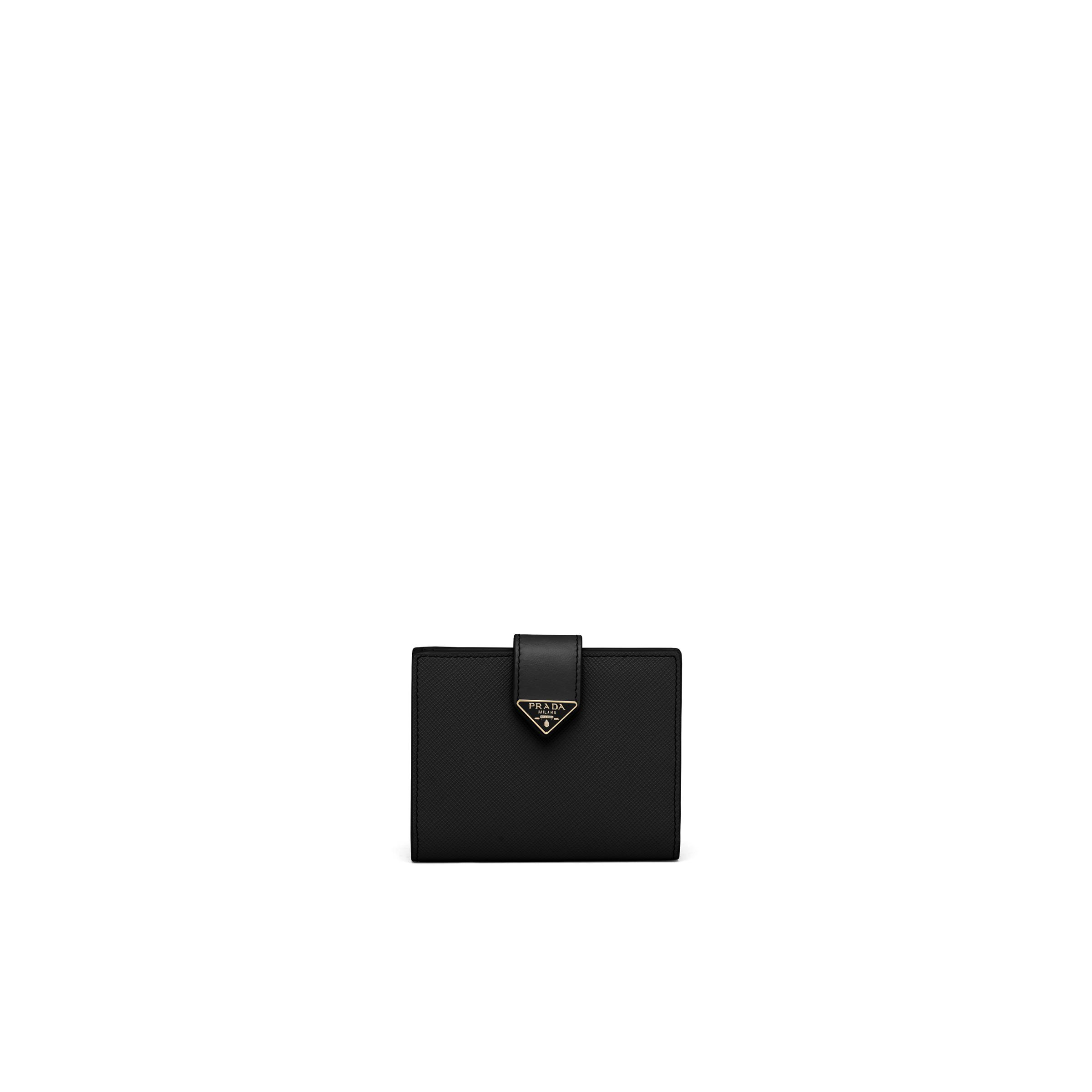 Small Saffiano And Leather Wallet Women Black