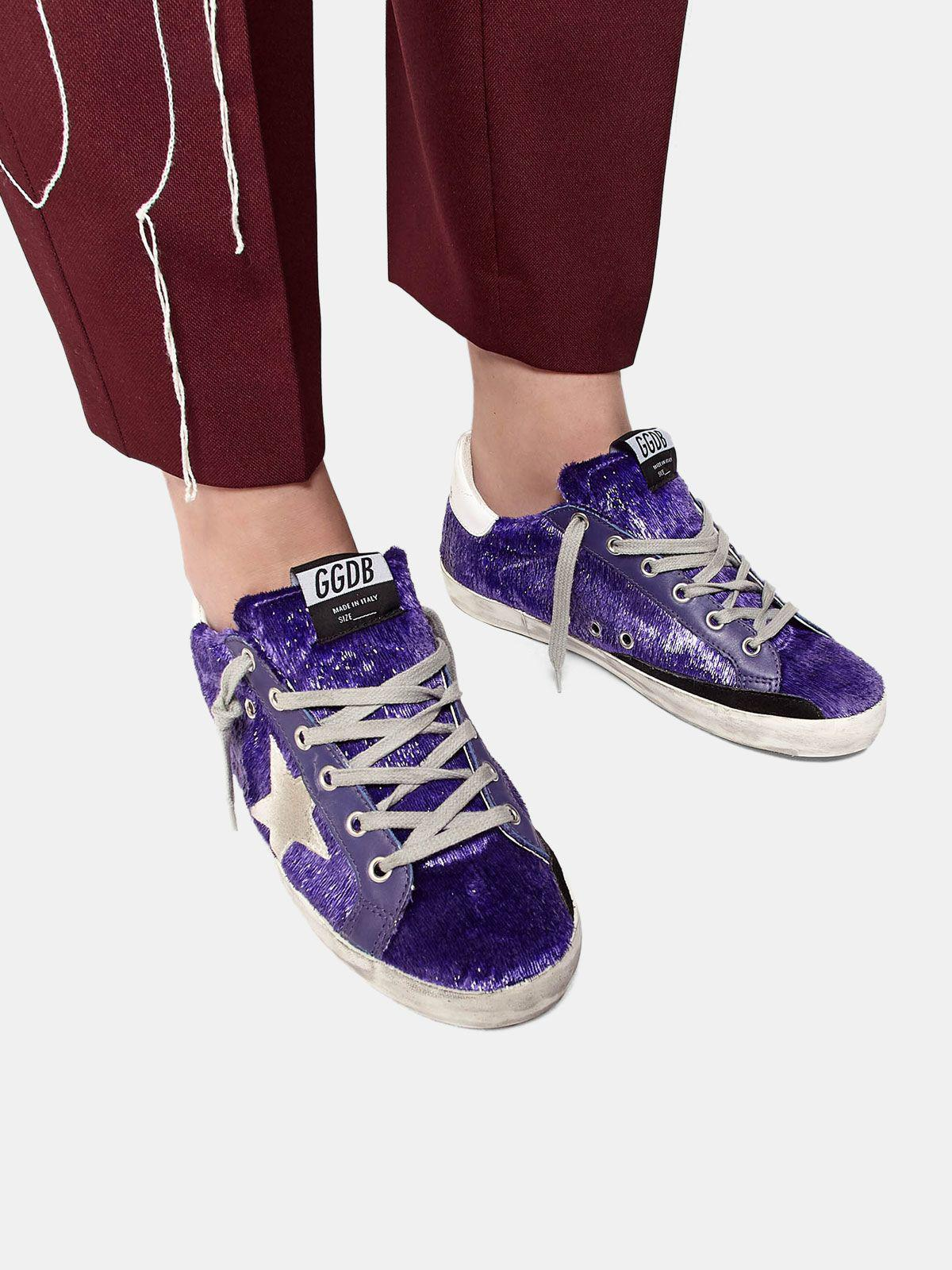 Super-Star sneakers with purple shimmer lamé threads 4