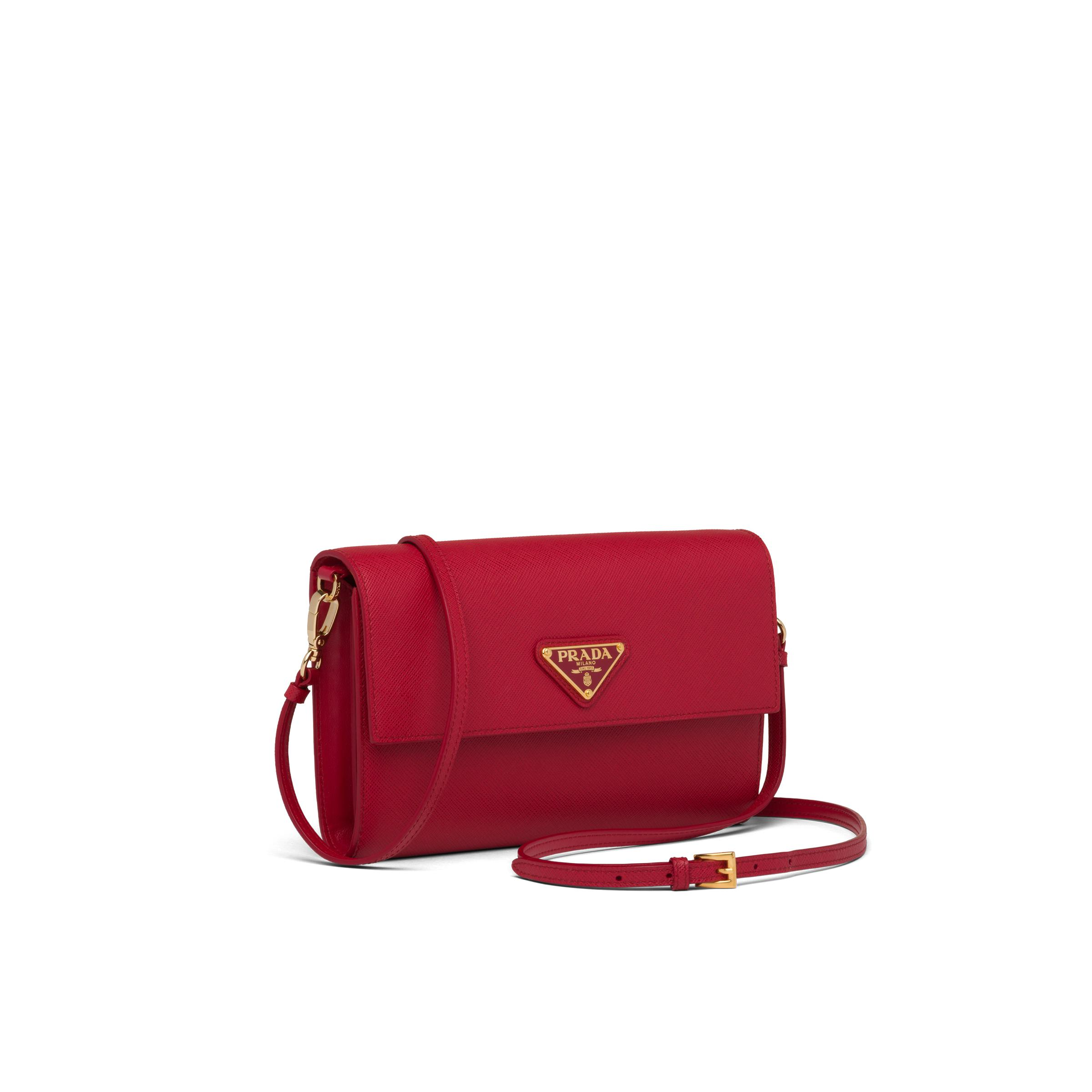 Saffiano And Leather Wallet With Shoulder Strap Women Fiery Red 2