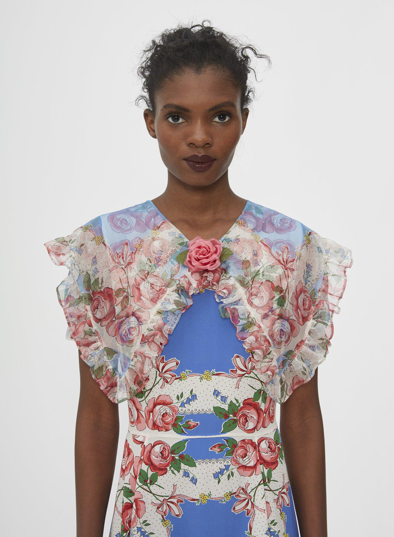 FLORAL PRINTED SILK DRESS WITH RUFFLE COLLAR 2