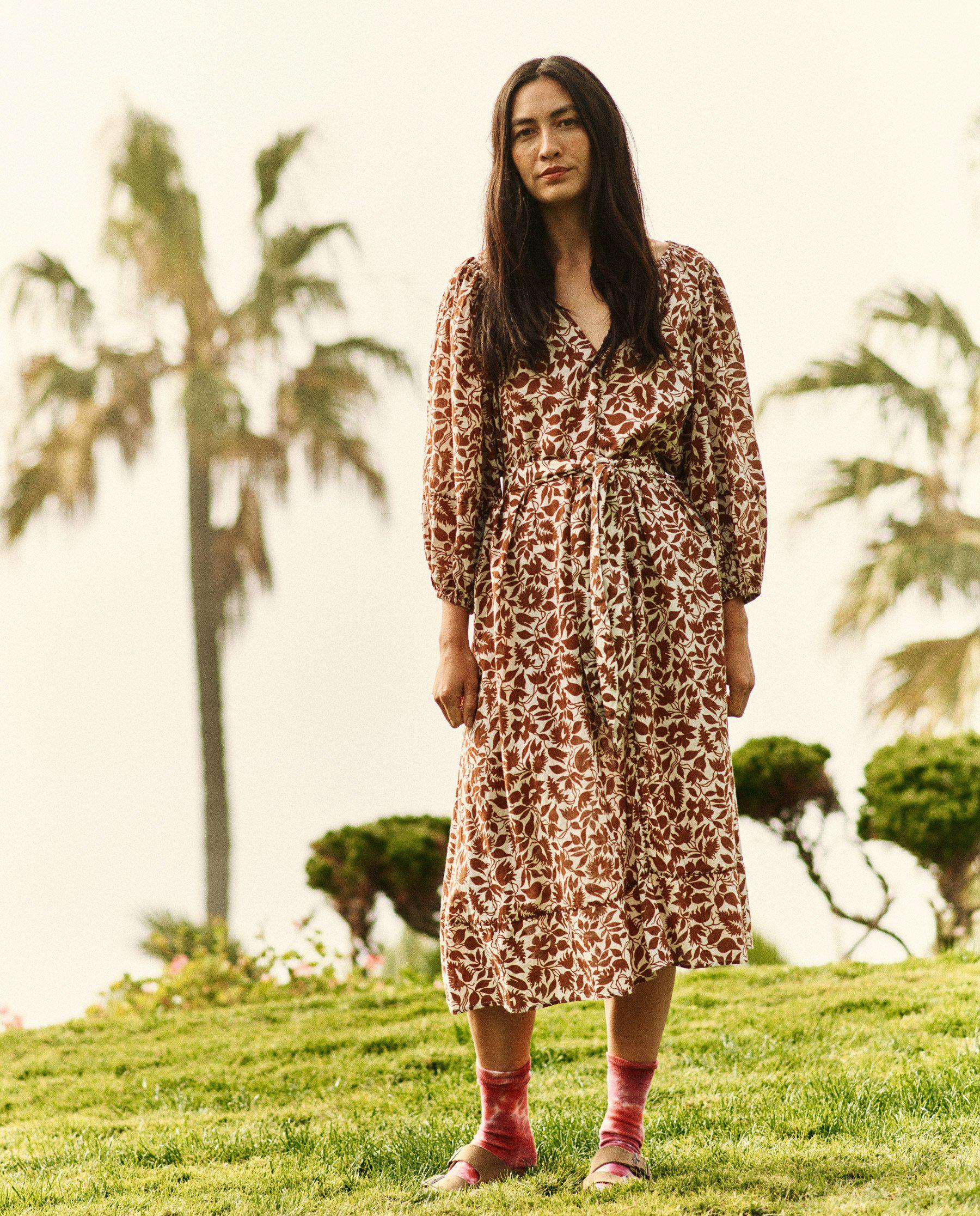 The Whip Stitched Willow Dress. -- Brown Blossom Floral