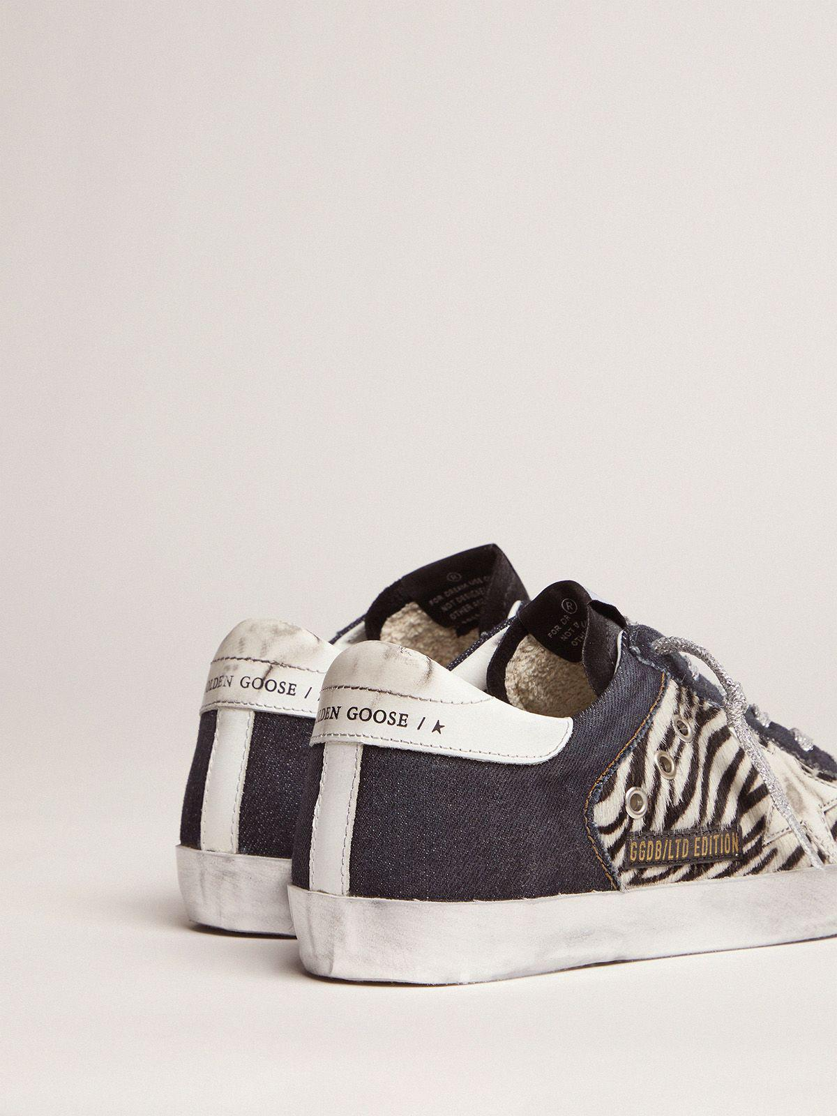 LAB Limited Edition Super-Star sneakers in denim, zebra-print pony skin and suede 3