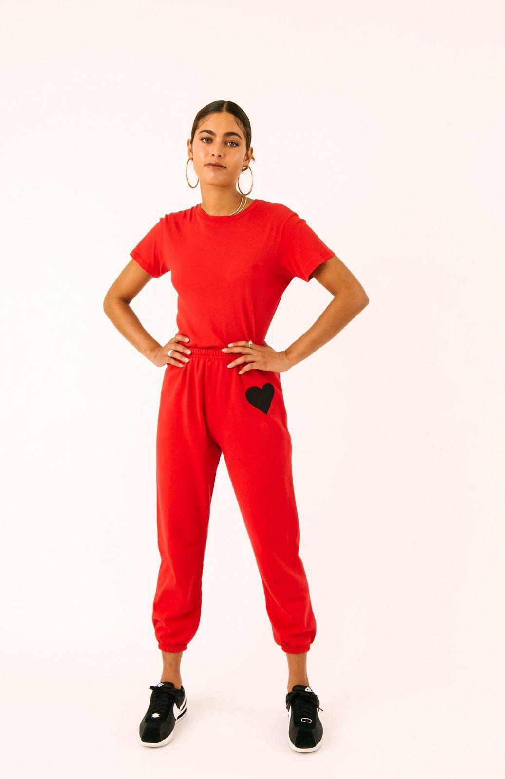 Bright Red Heart Sweatpants