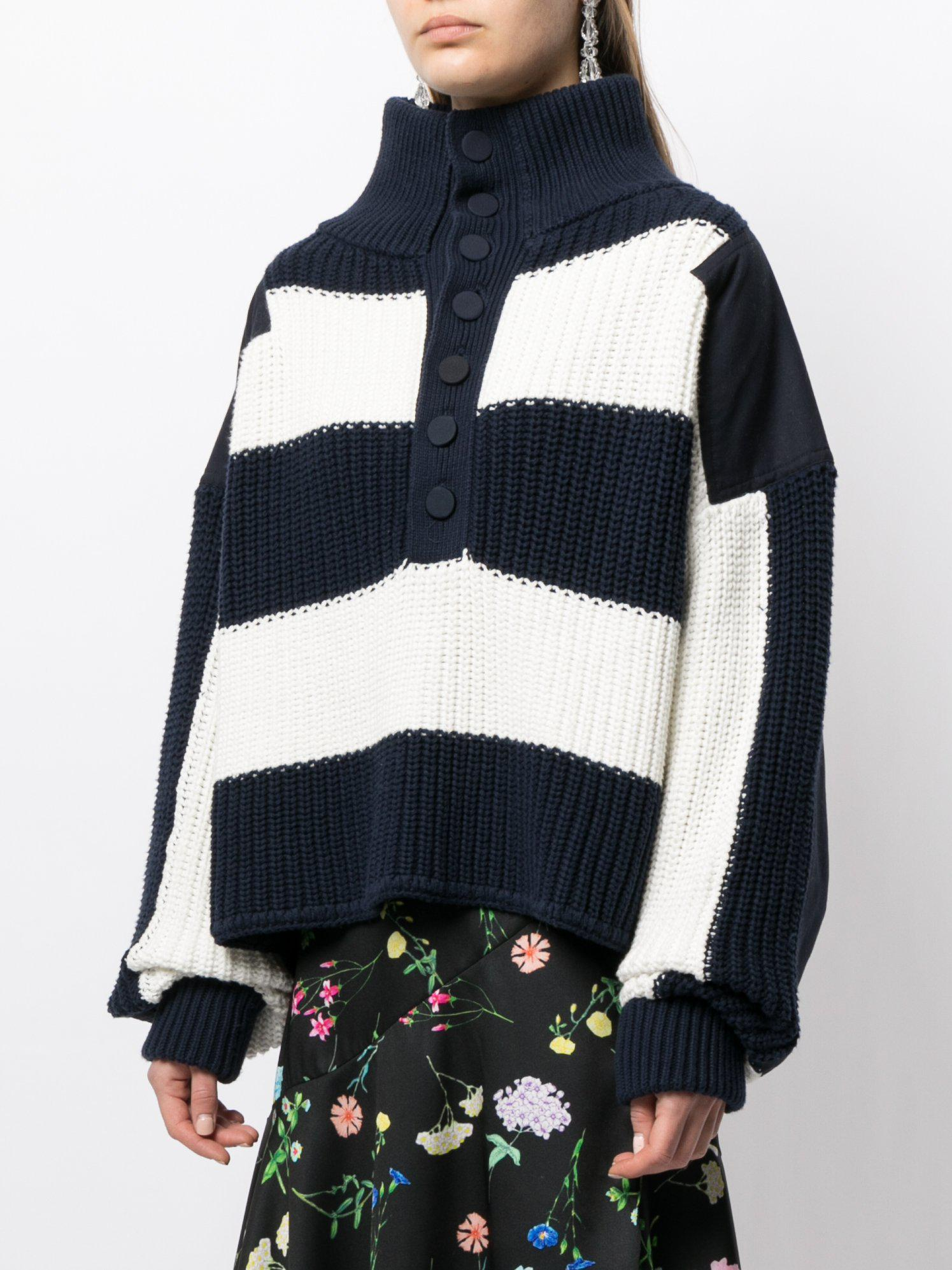 STRIPED HENLEY SWEATER IN COTTON 0