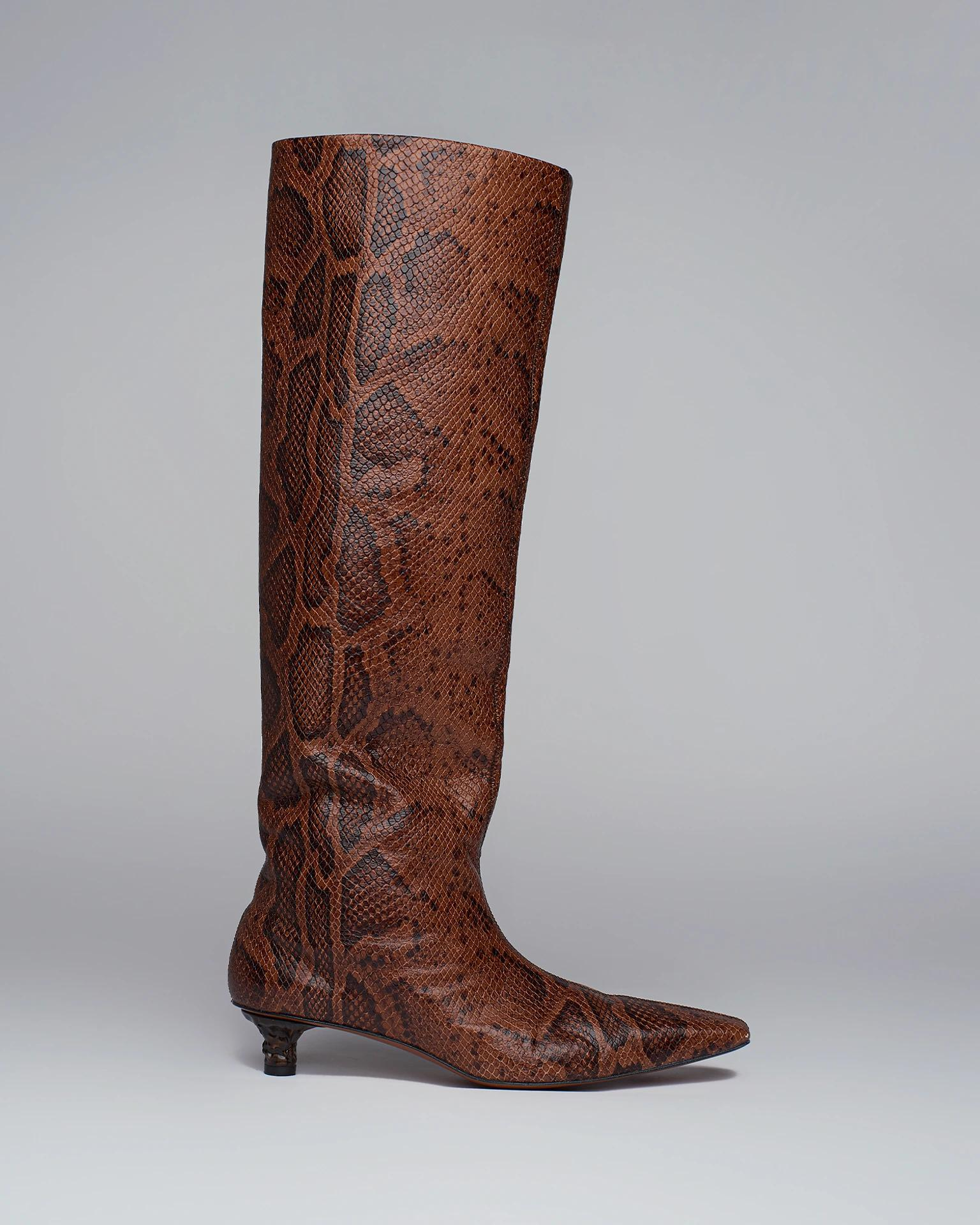 PIPPA - Snake-embossed leather knee boots - Black/Brown
