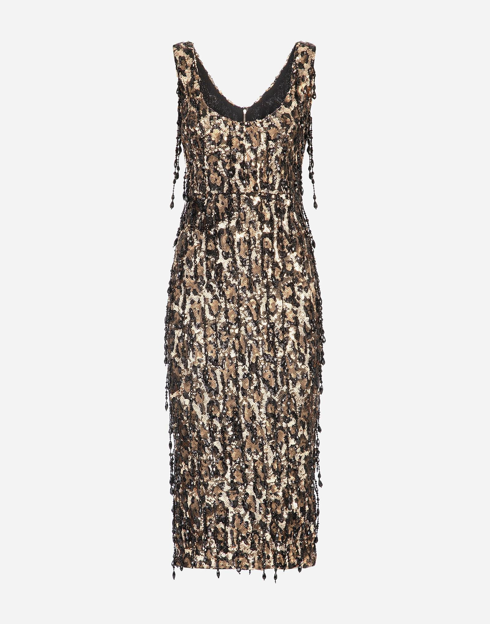 Sheath dress with leopard-look sequin embellishment 3