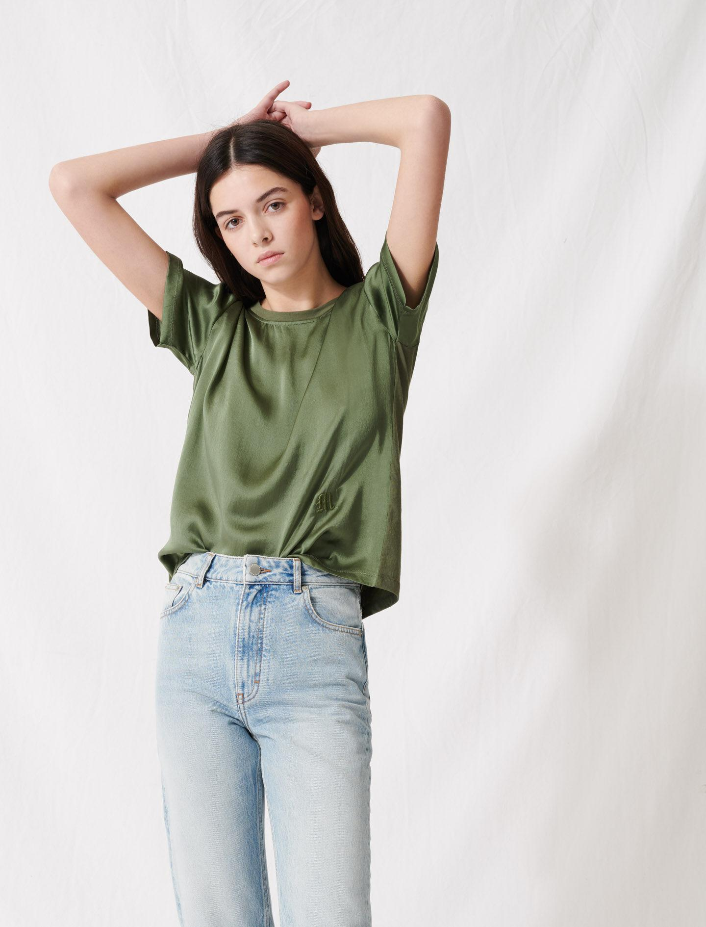 LOOSE-FITTING MATERIAL-MIX T-SHIRT 1