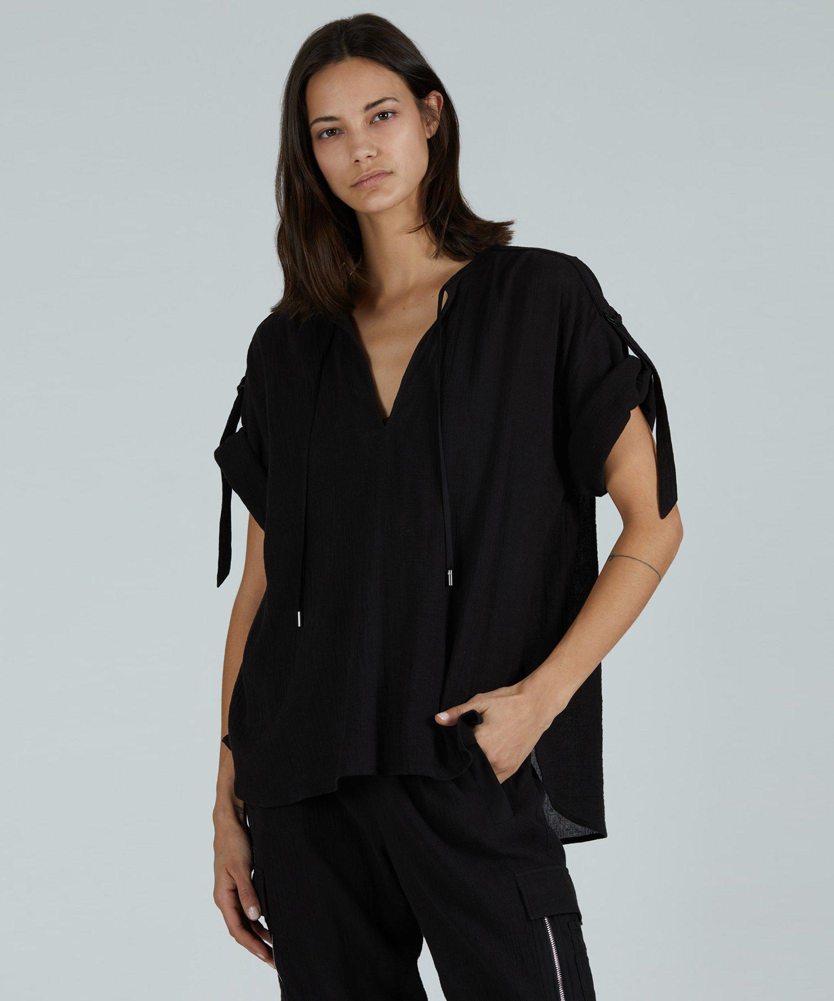 Cotton Gauze Rolled Sleeve Top - Black