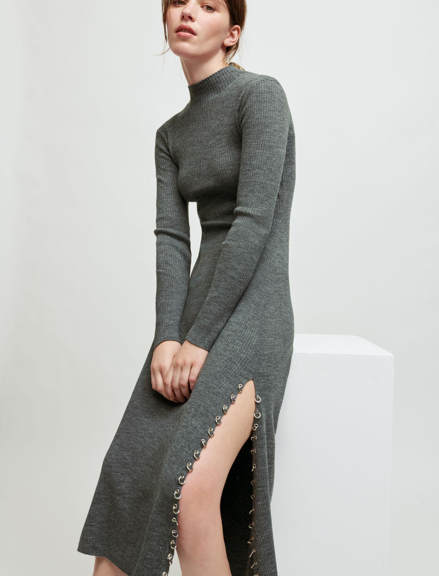 KNITTED SLIT DRESS WITH PIERCINGS