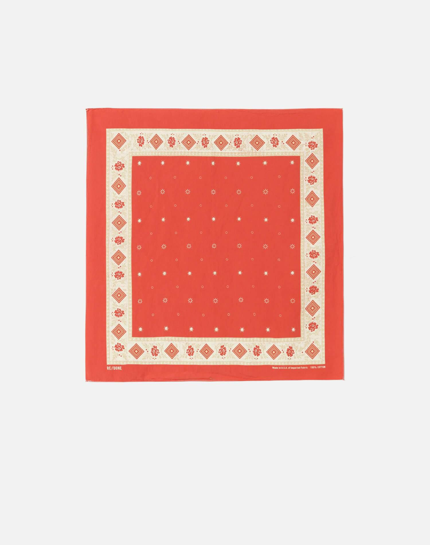 50s Floral Bandana - Faded Red