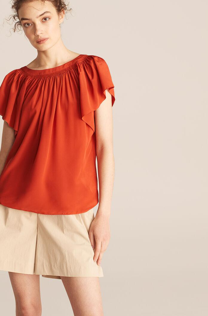 RUCHED ROUND NECK BLOUSE