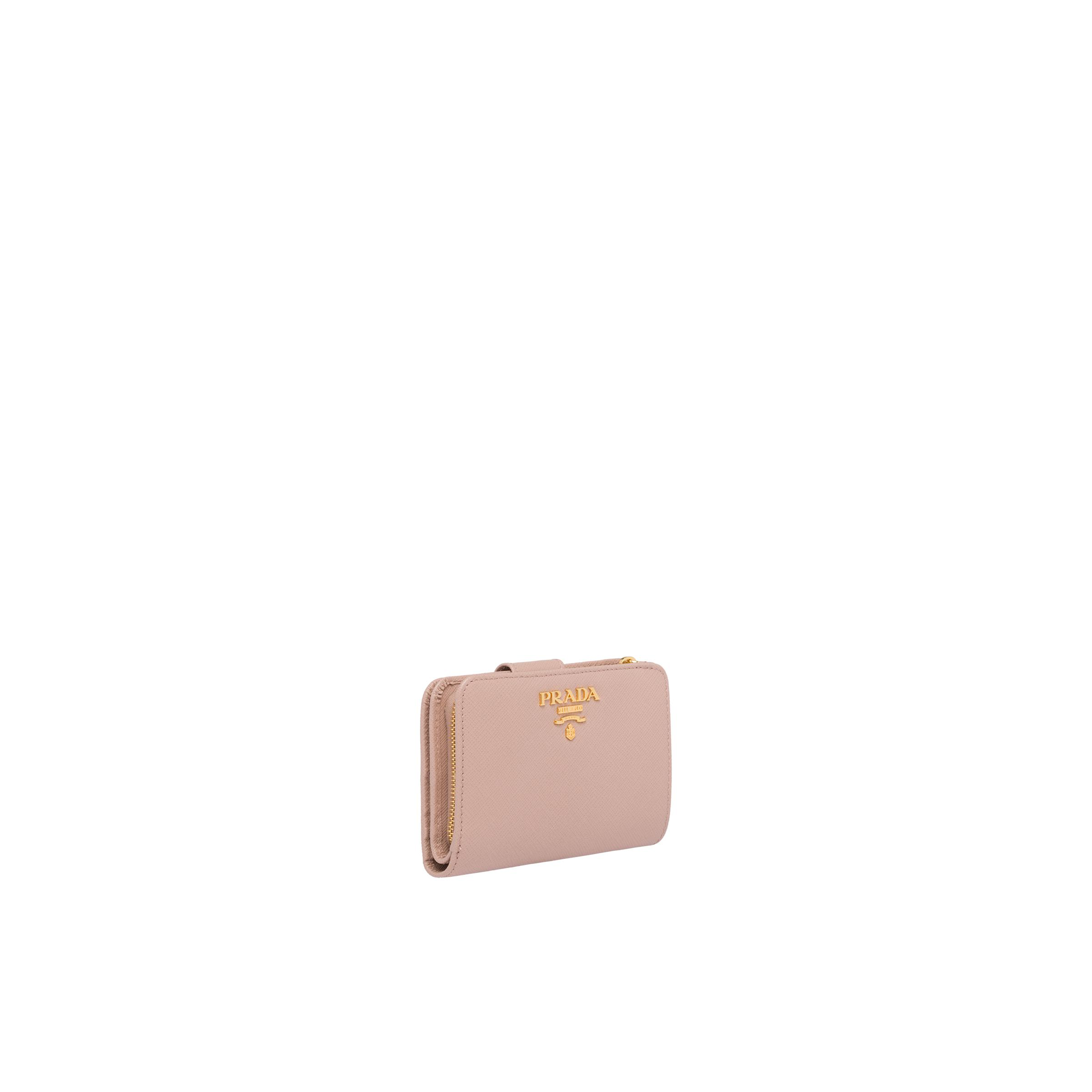 Small Saffiano Leather Wallet Women Powder Pink/fiery Red 3