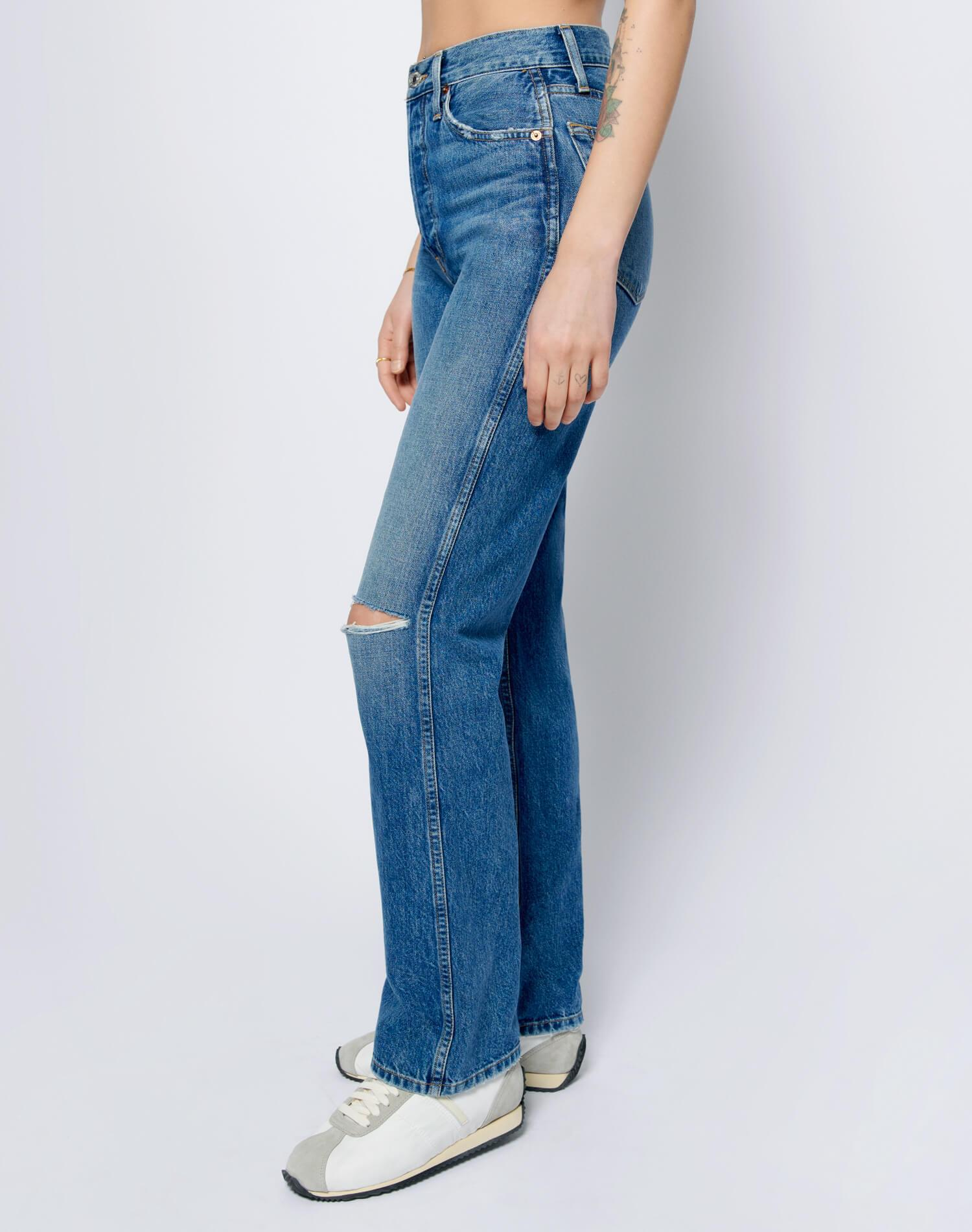 High Rise Loose - Washed Indigo with Rips 2