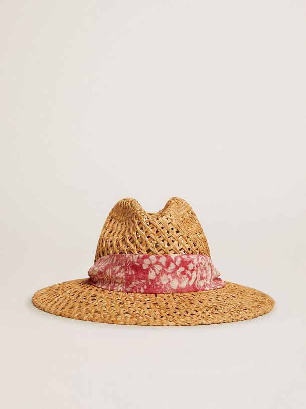 Golden Resort Capsule Collection woven straw hat with scarf in vintage red and contrasting white toile de jouy print
