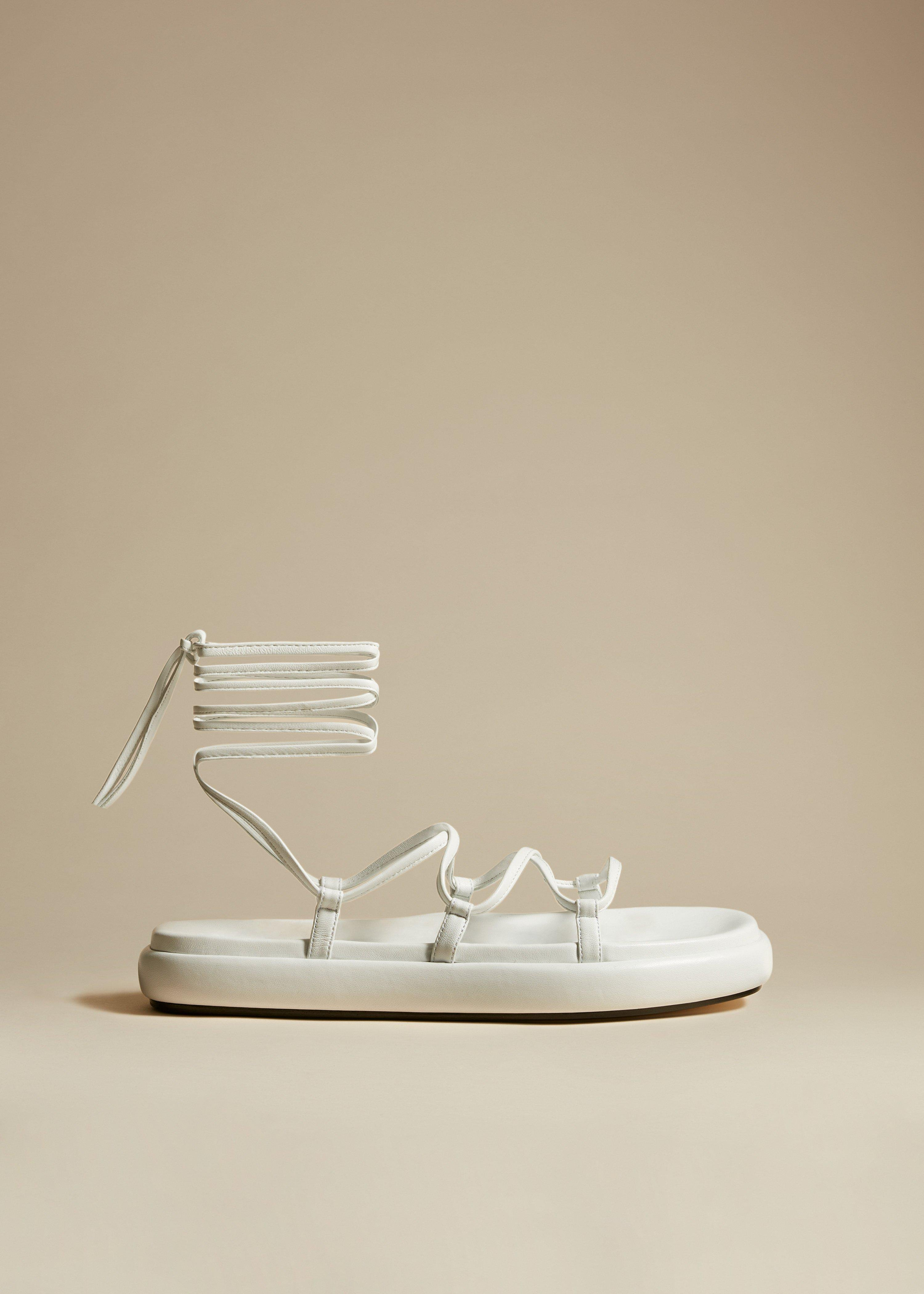 The Alba Sandal in White Leather