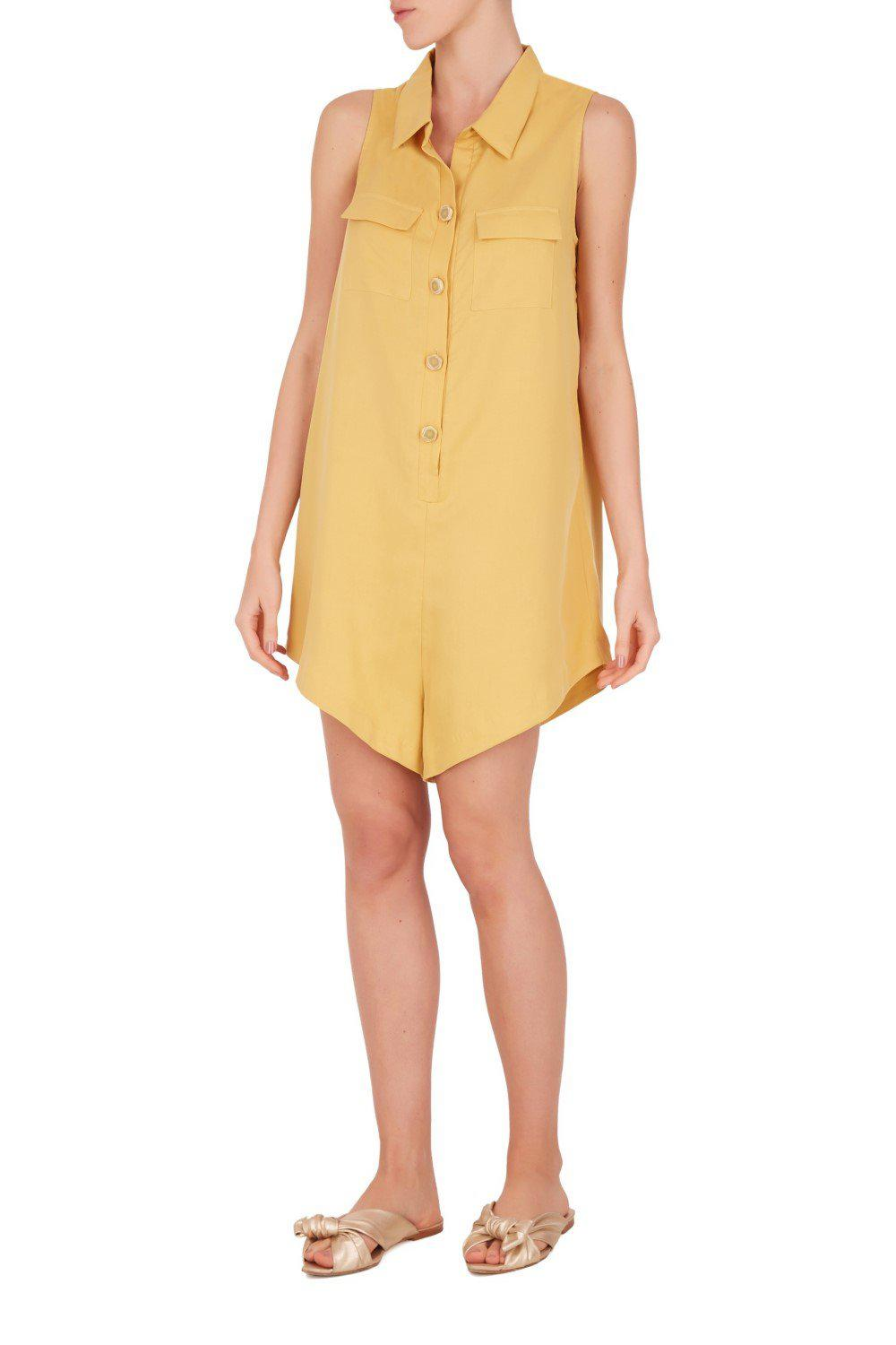 Safari Solid Playsuit with Pockets
