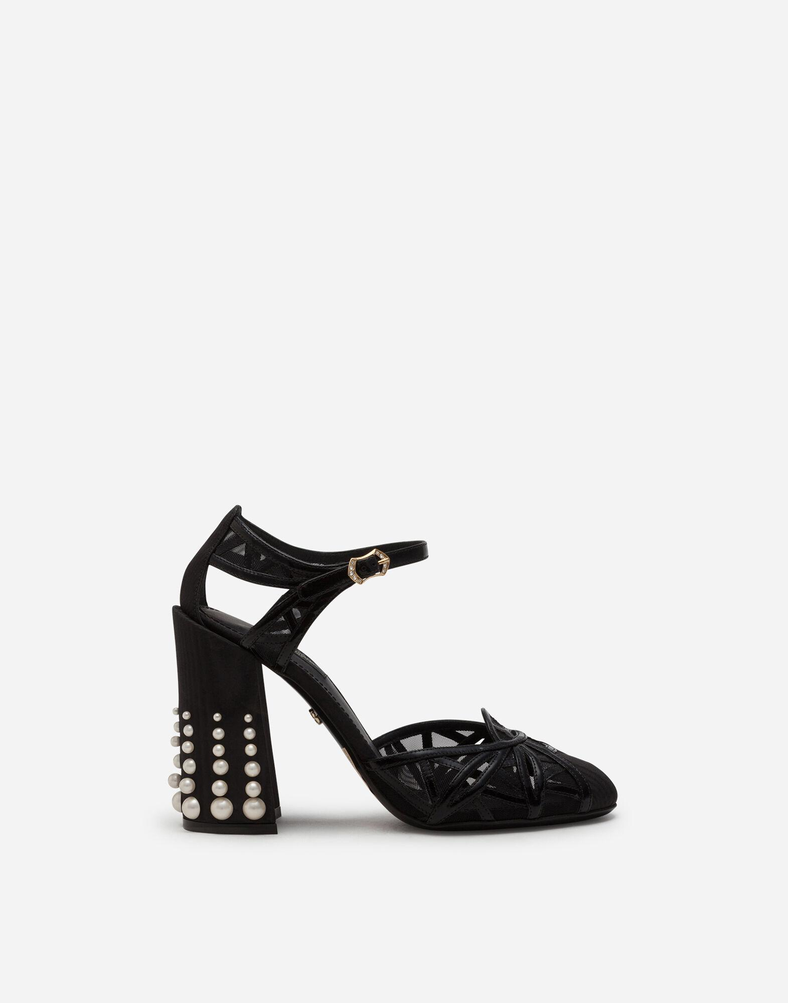Mixed material ankle strap shoes with pearl embroidery
