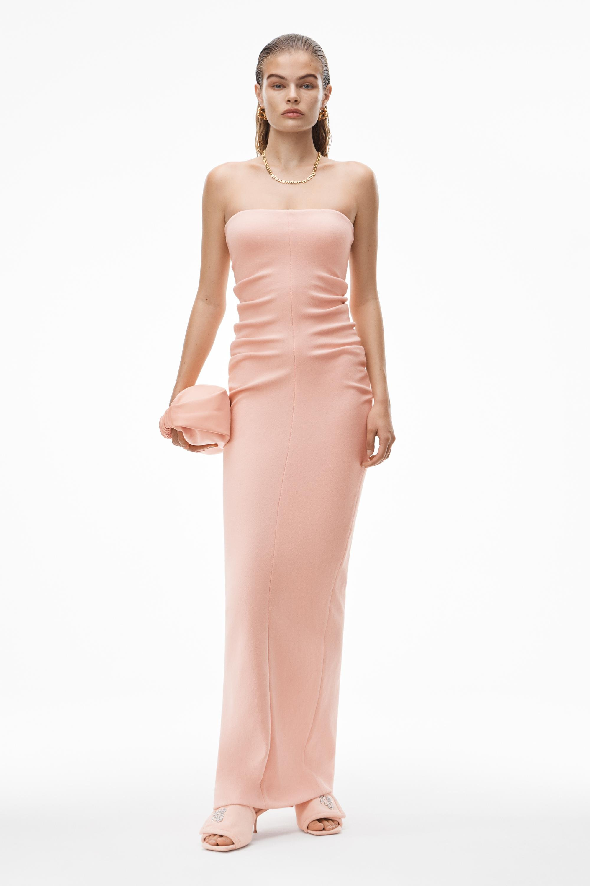 strapless column dress in ruched velour 0