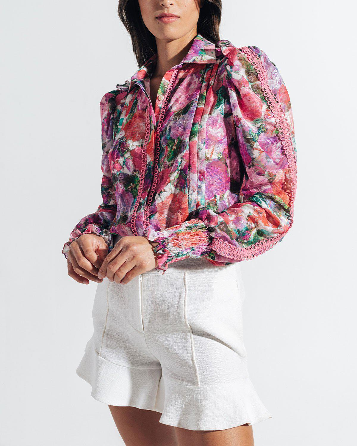 BLOSSOM BUTTON-FRONT BLOUSE 3