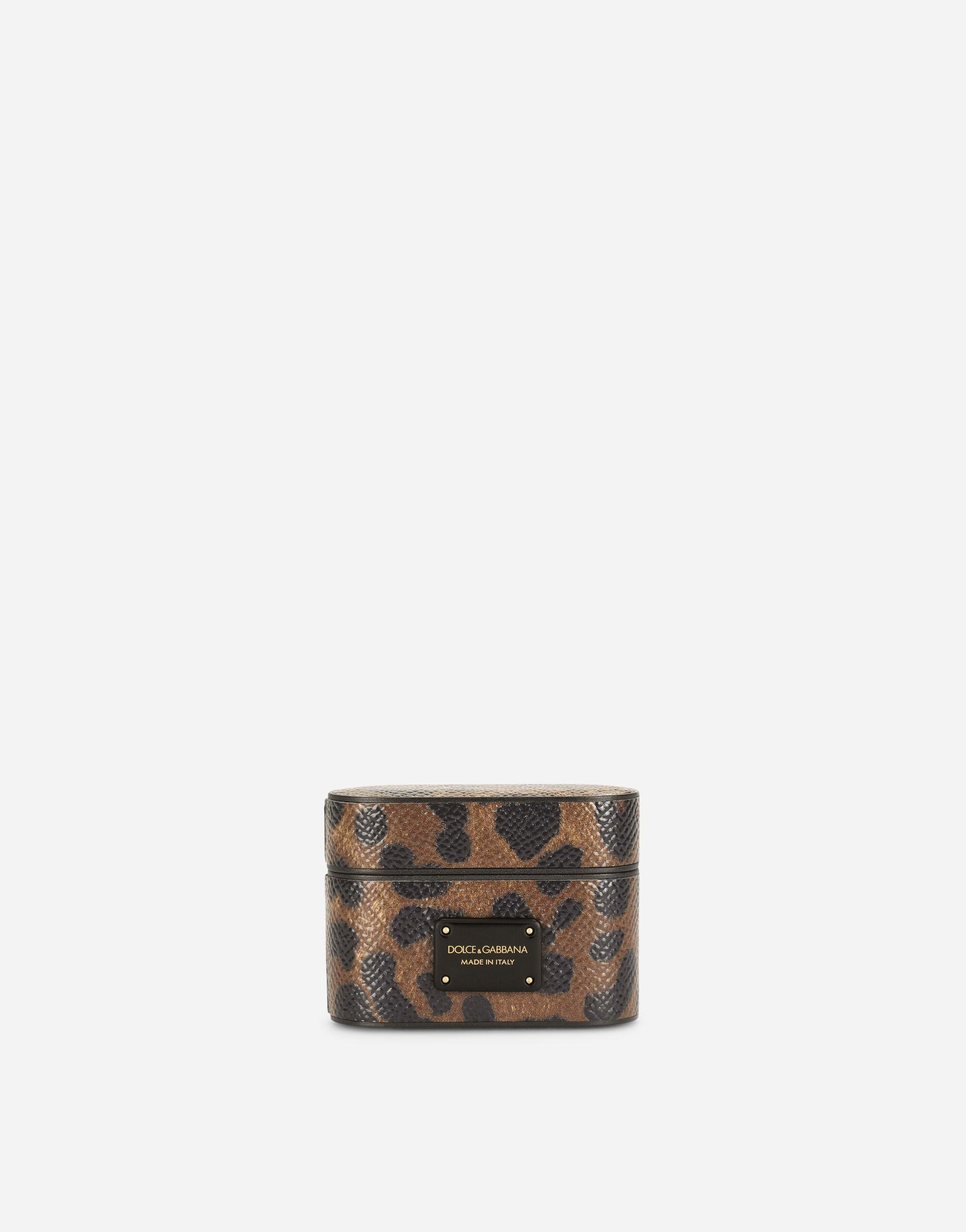 Dauphine calfskin airpods pro case with leopard print and plate