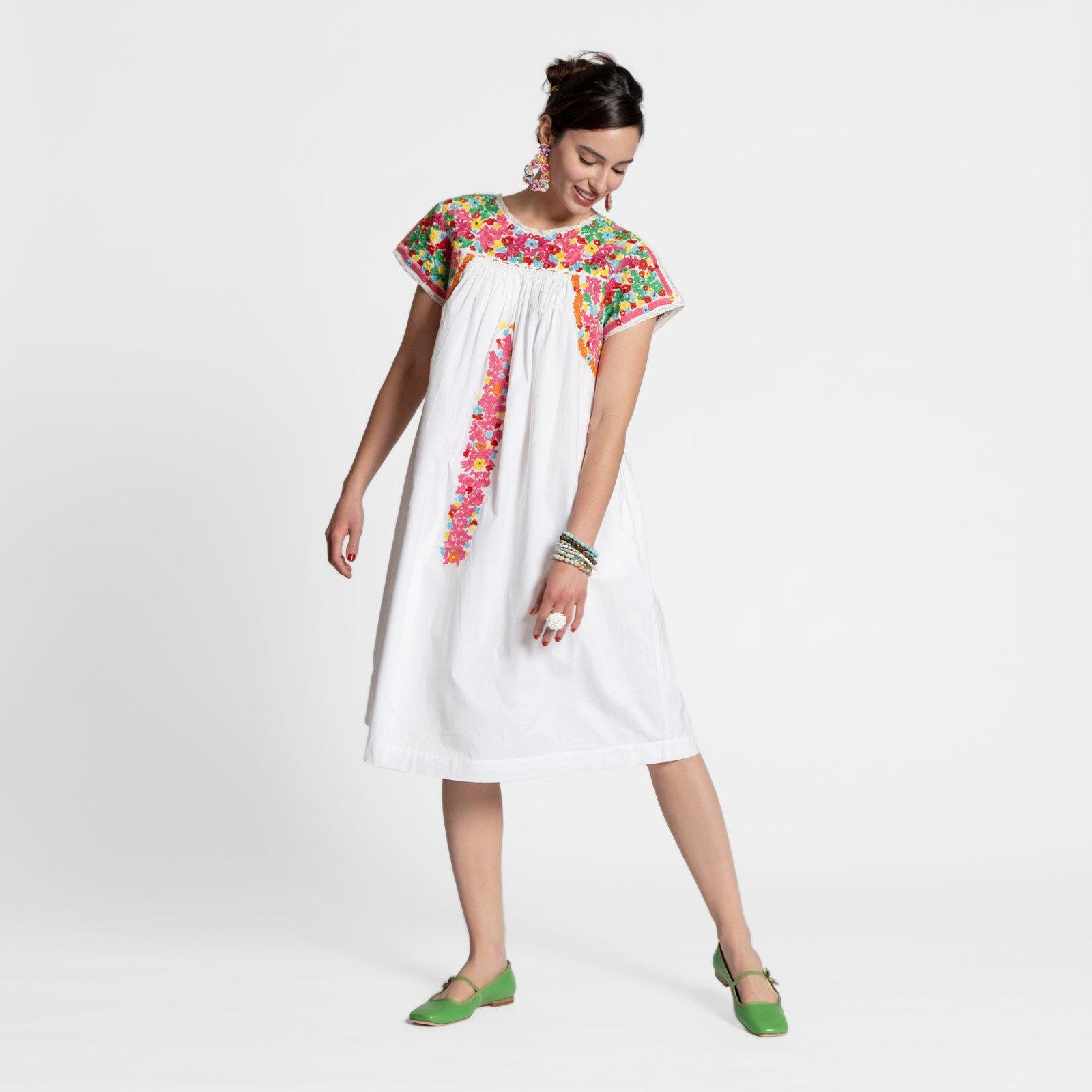 Embroidered Flower Midi Dress Oyster 0