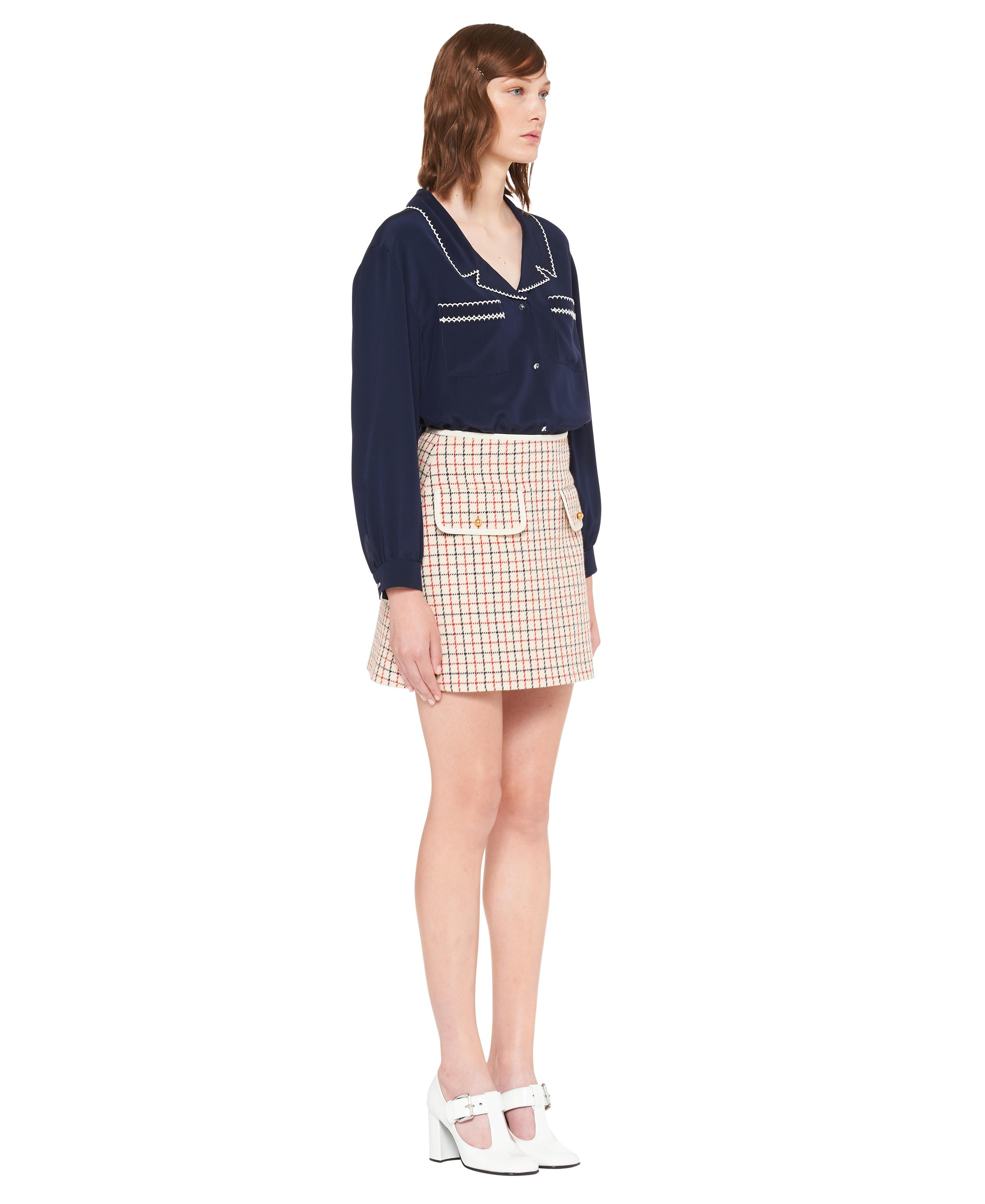 Embroidered Crepe De Chine Blouse Women Navy 2
