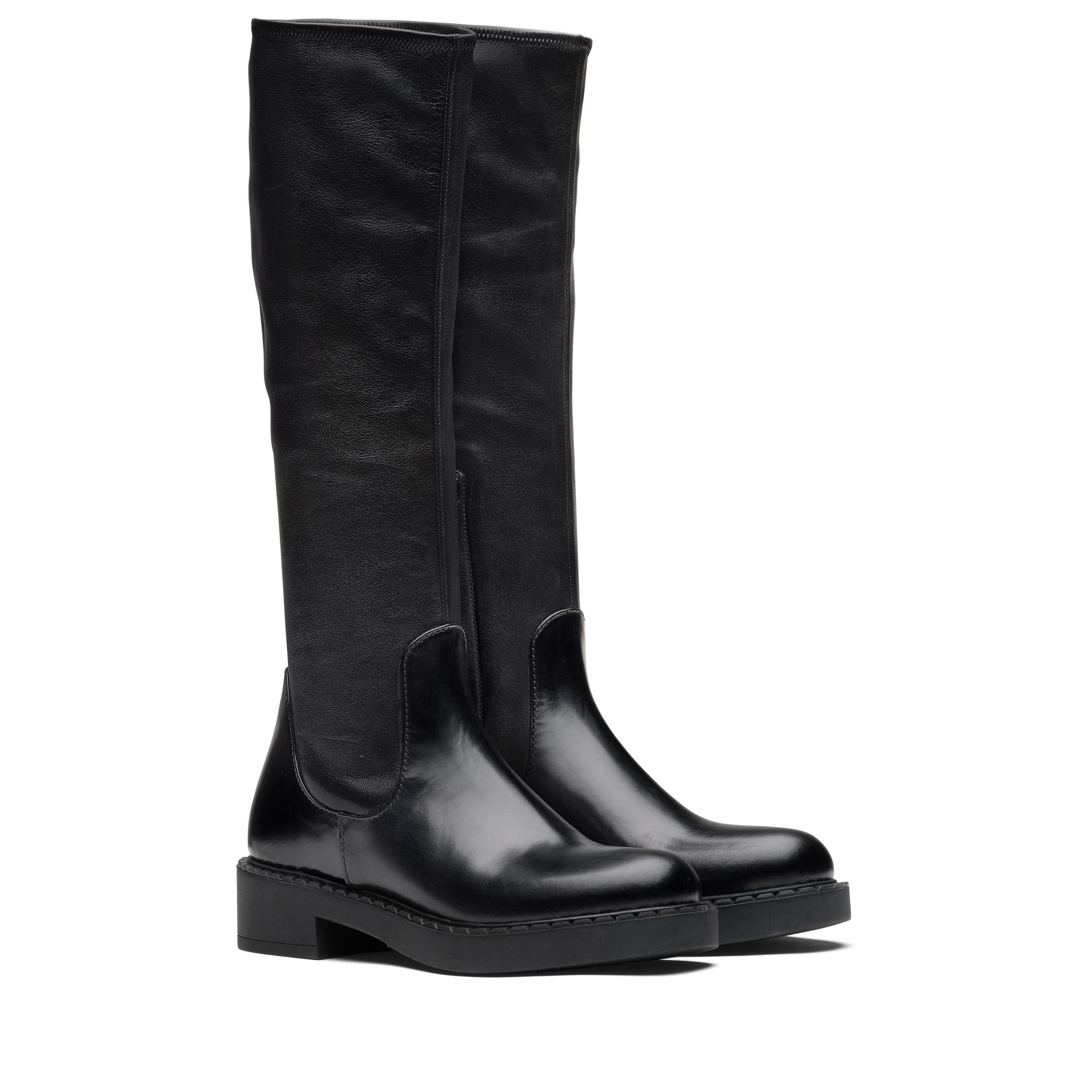 Brushed Leather And Stretch Nappa Leather Boots Women Black