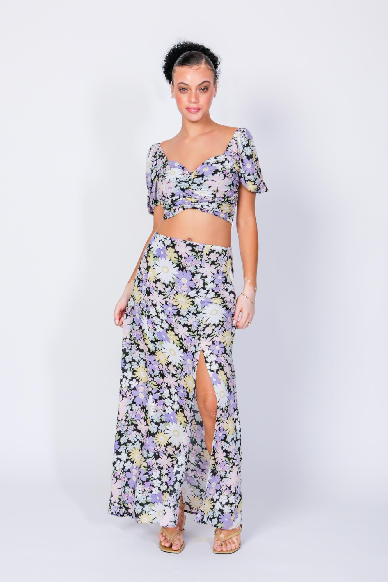 Sonny & Cher Crop Top and Skirt Two Piece Set