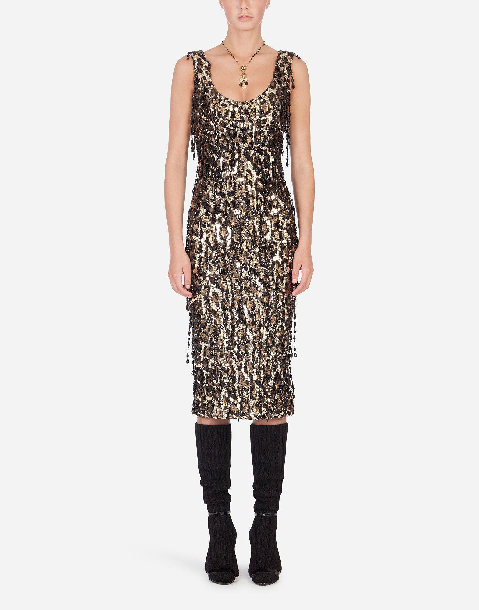 Sheath dress with leopard-look sequin embellishment