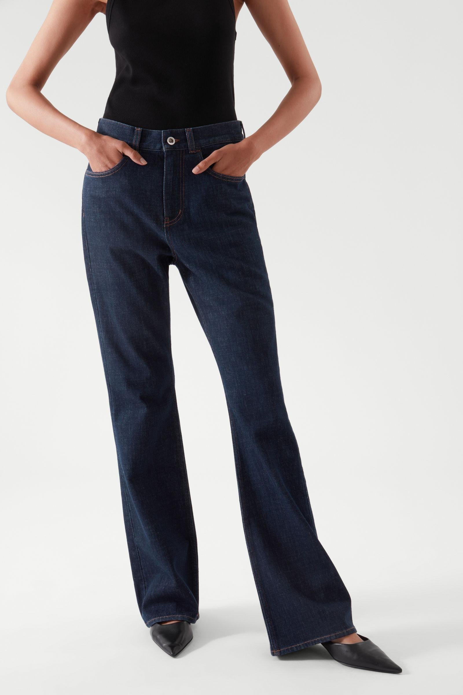 FLARED RECYCLED COTTON DENIM PANTS 2