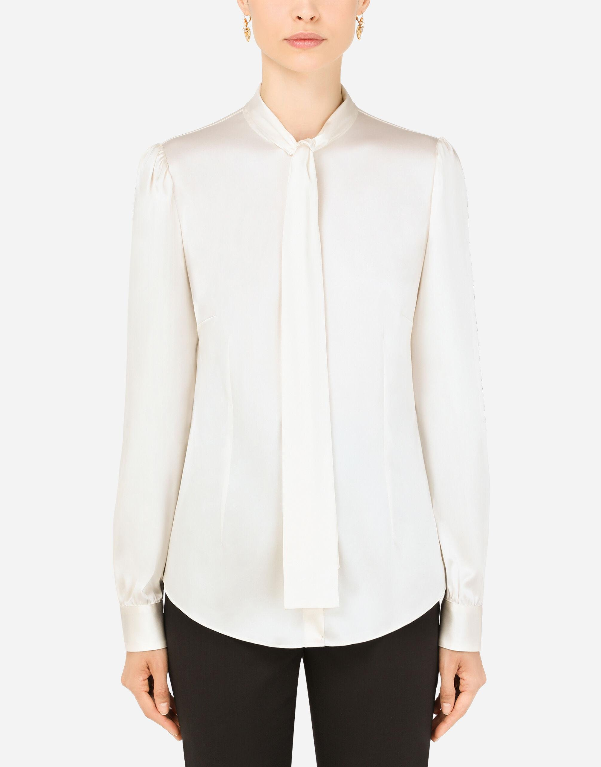 Satin shirt with pearl buttons with DG logo