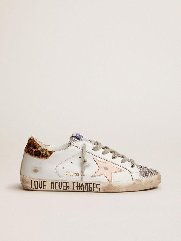 Super-Star sneakers with silver glitter tongue and handwritten lettering on the foxing