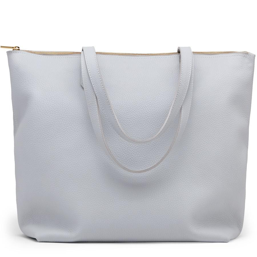 Women's Classic Leather Zipper Tote Bag in Pearl Grey | Pebbled Leather by Cuyana