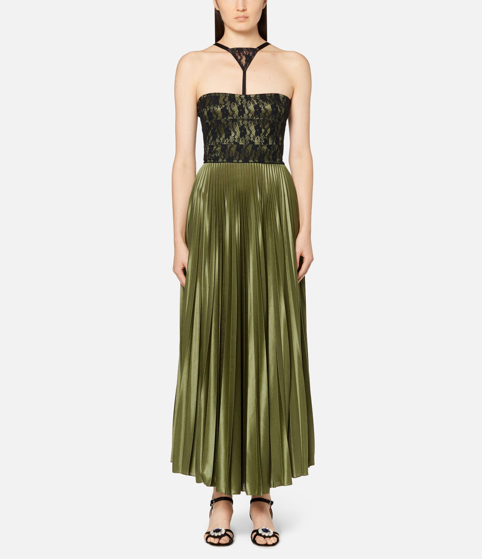 lace panelled bodice pleated dress