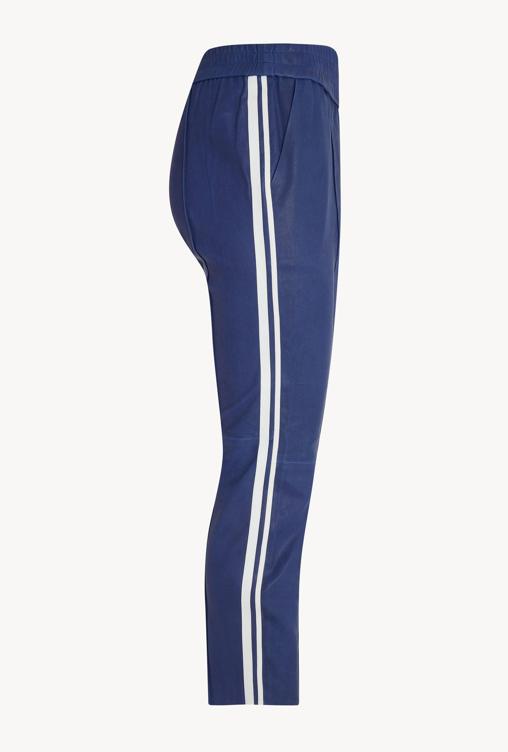 Electric Blue Athletic Slim Fit Leather Joggers 2