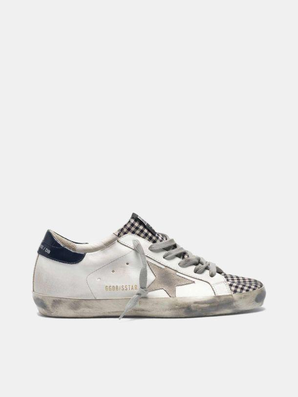 Super-Star sneakers in leather with checked insert